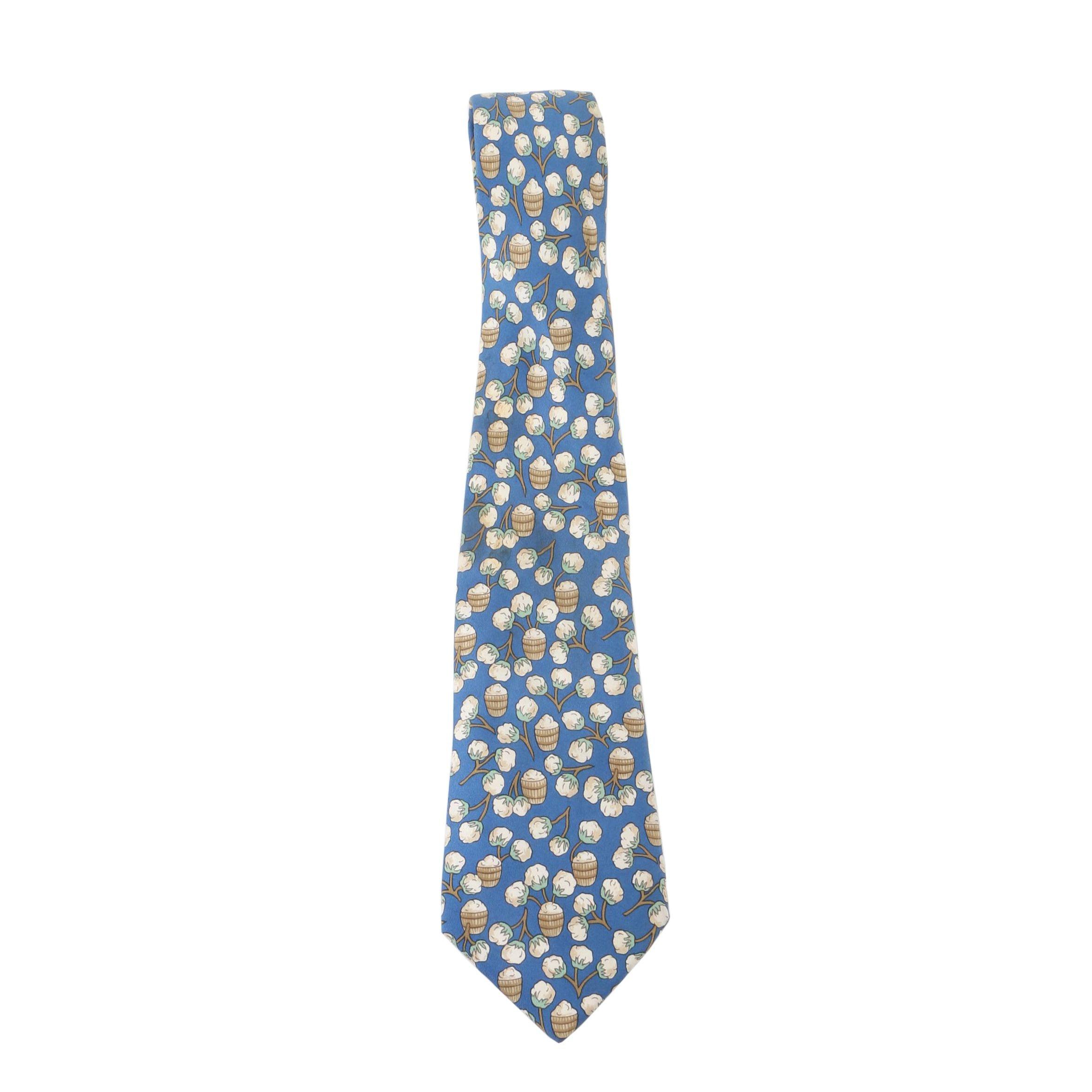 Vintage Hermès of Paris Cotton Pattern Silk Tie