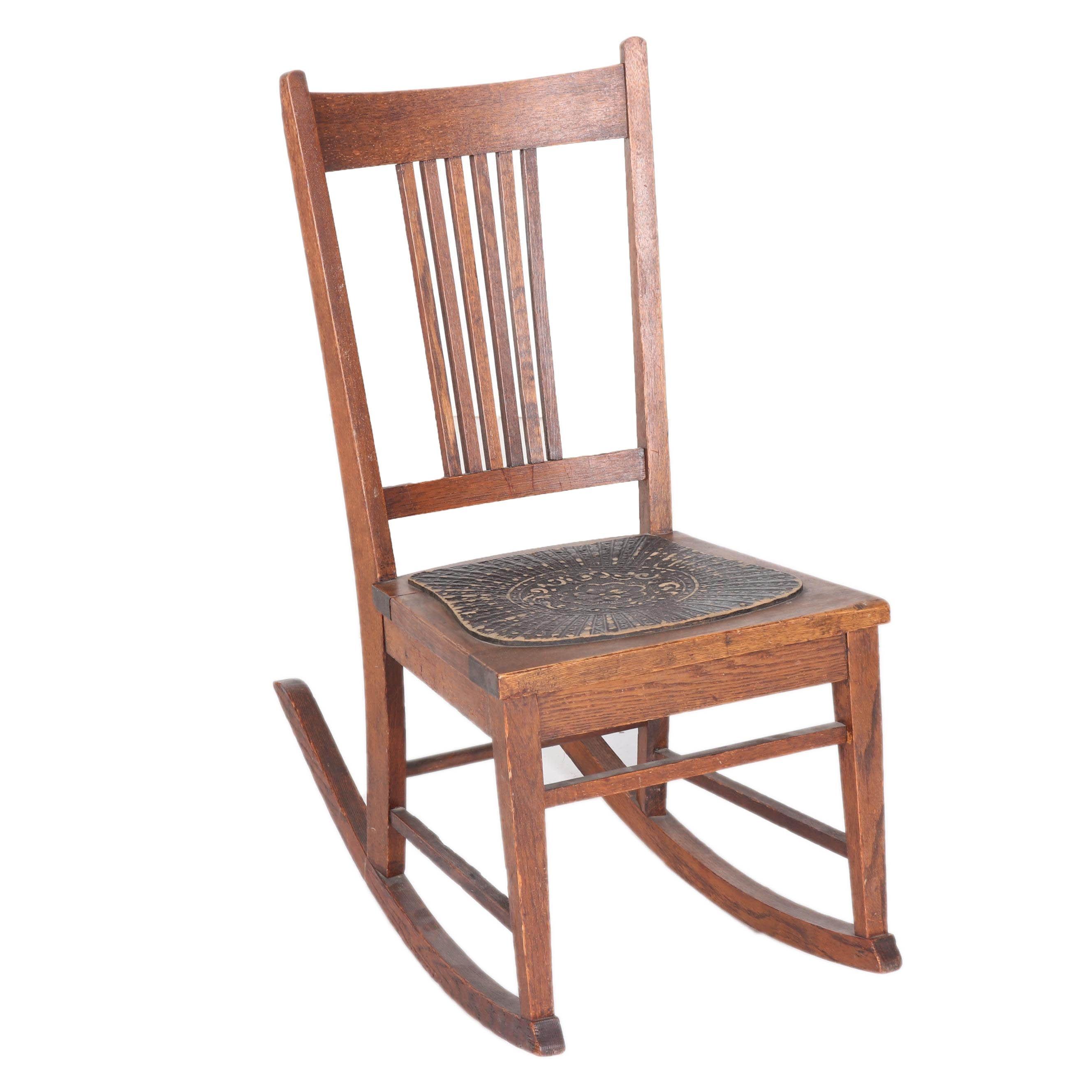 Vintage Oak Children's Rocking Chair by W.F. Whitney