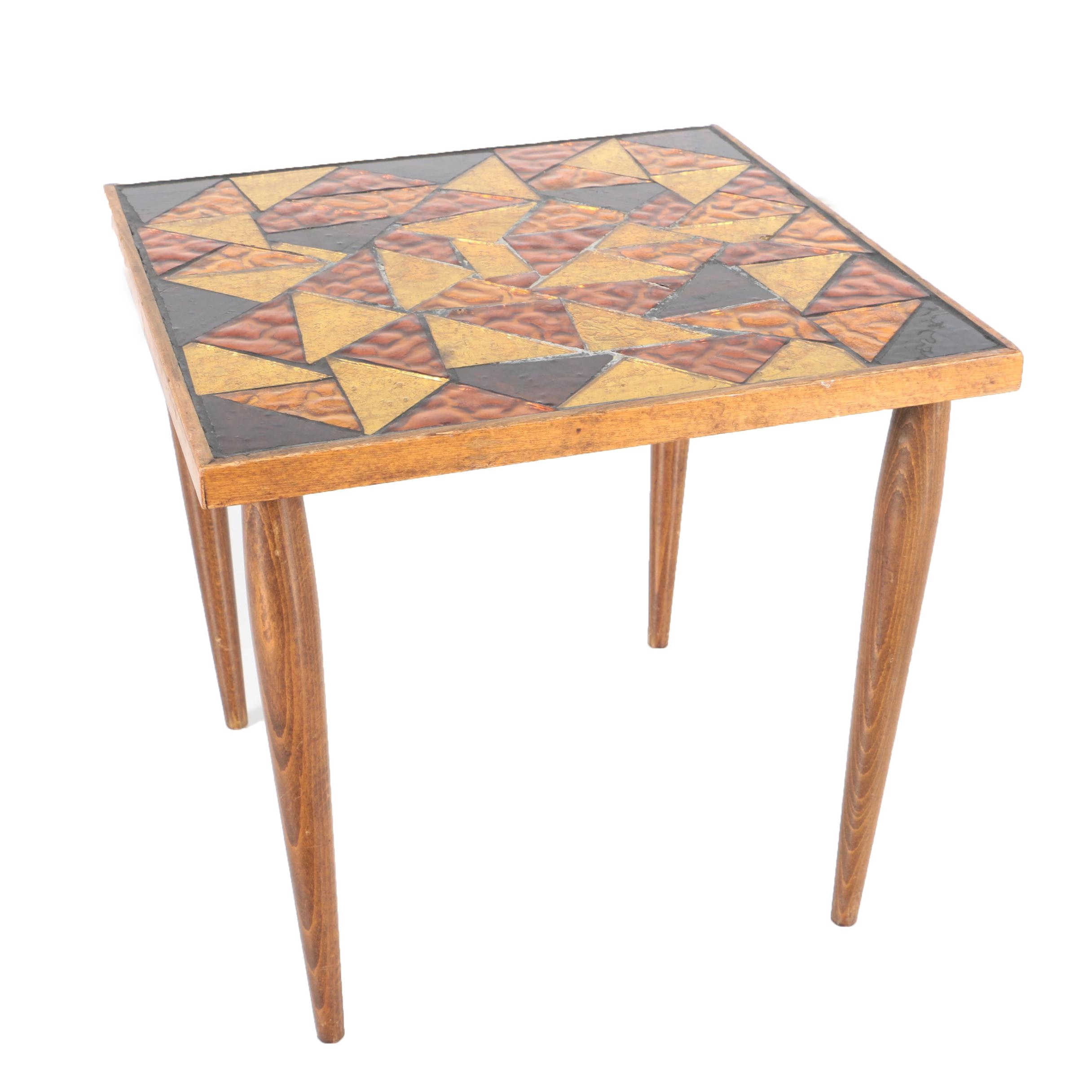 Mid Century Modern Georges Briard Glass Mosaic Top Side Table