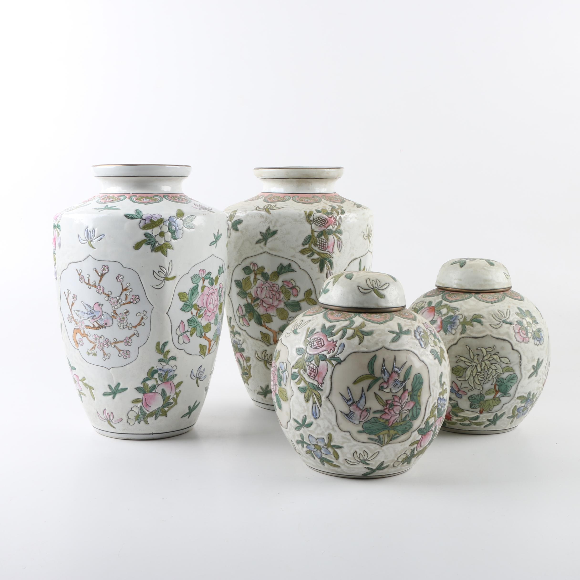 Chinese Hand-Painted Porcelain Vases and Ginger Jars