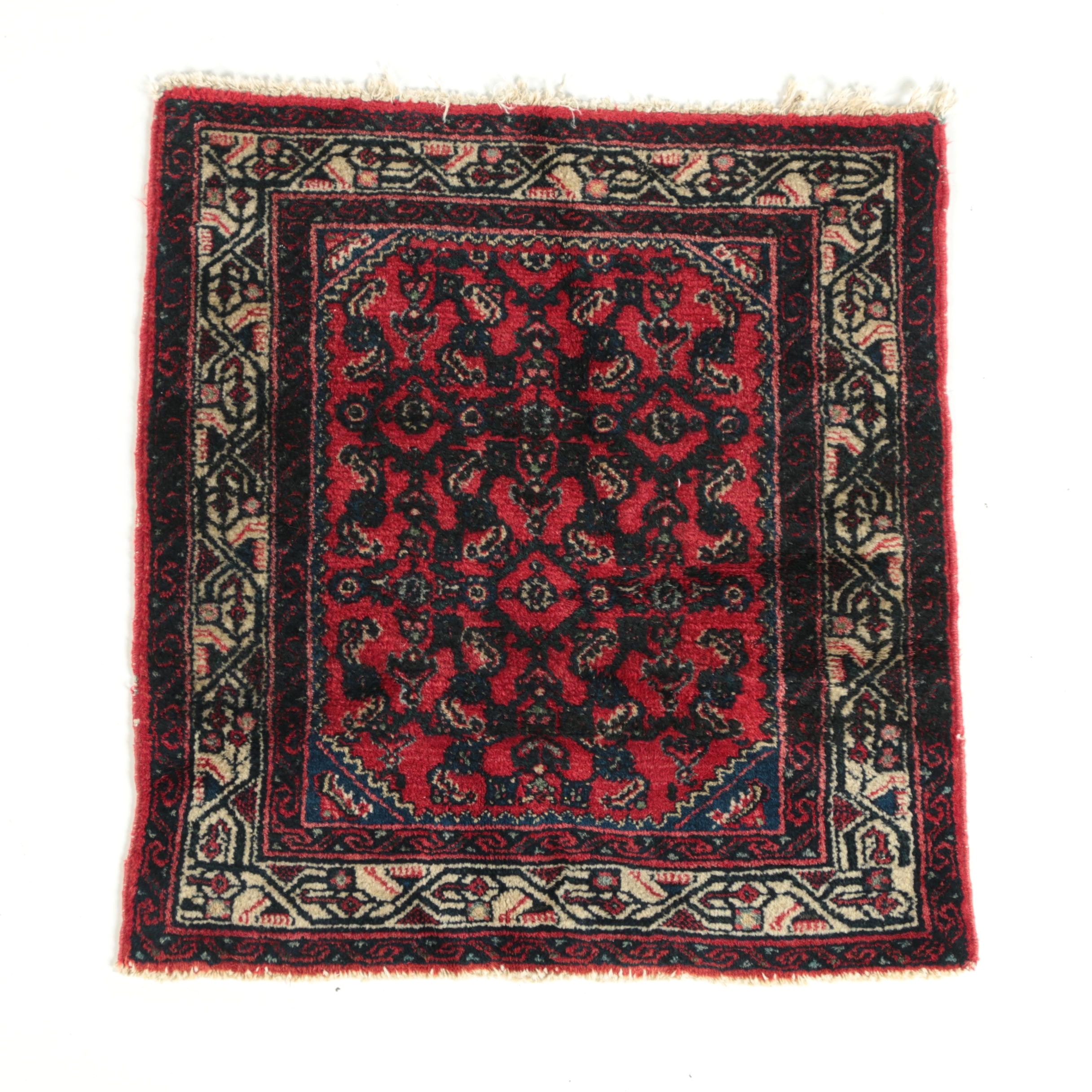 Semi-Antique Hand-Knotted Persian Enjilas Accent Rug