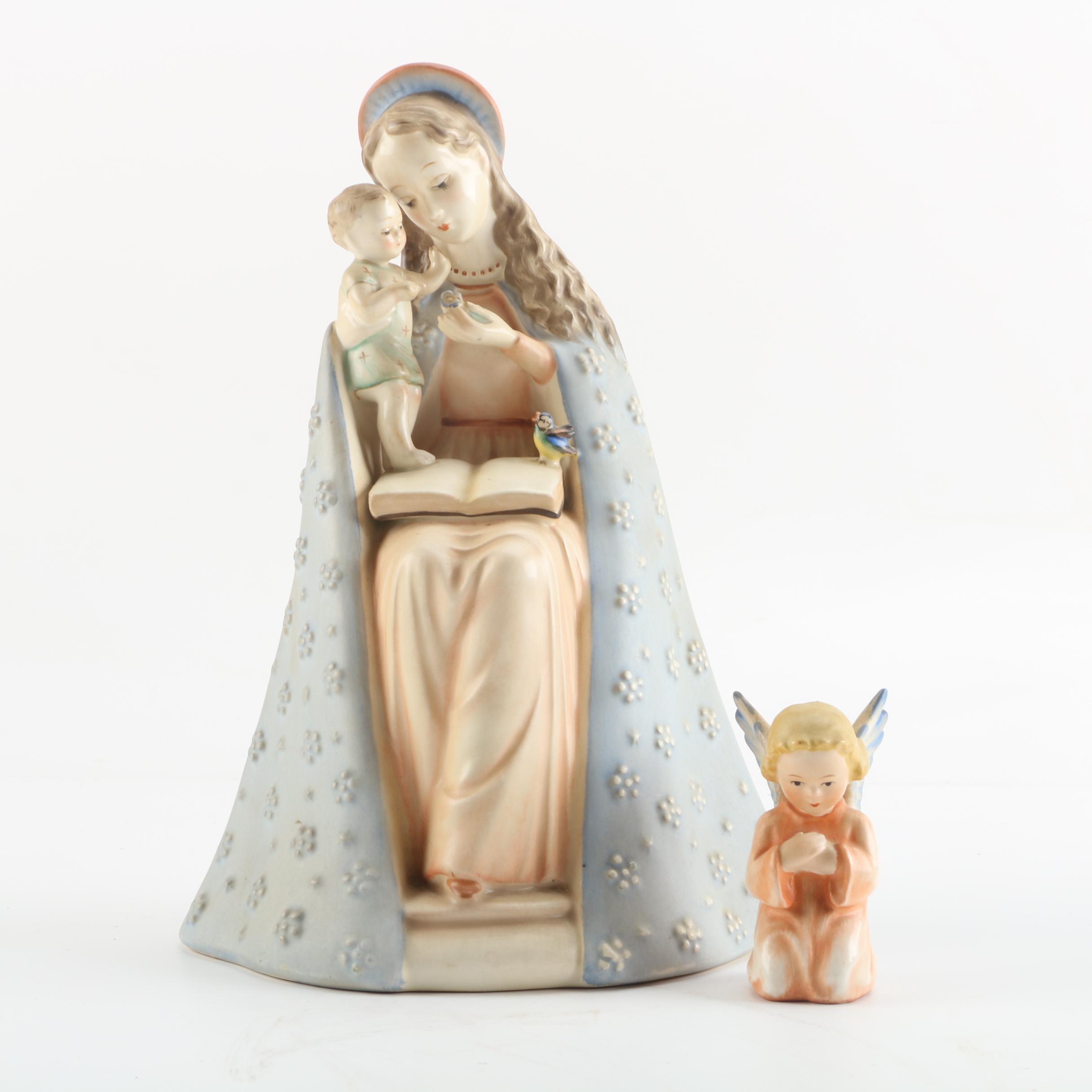 """1950s Goebel Hummel """"Flower Madonna"""" and Angel Praying Porcelain Figurines"""