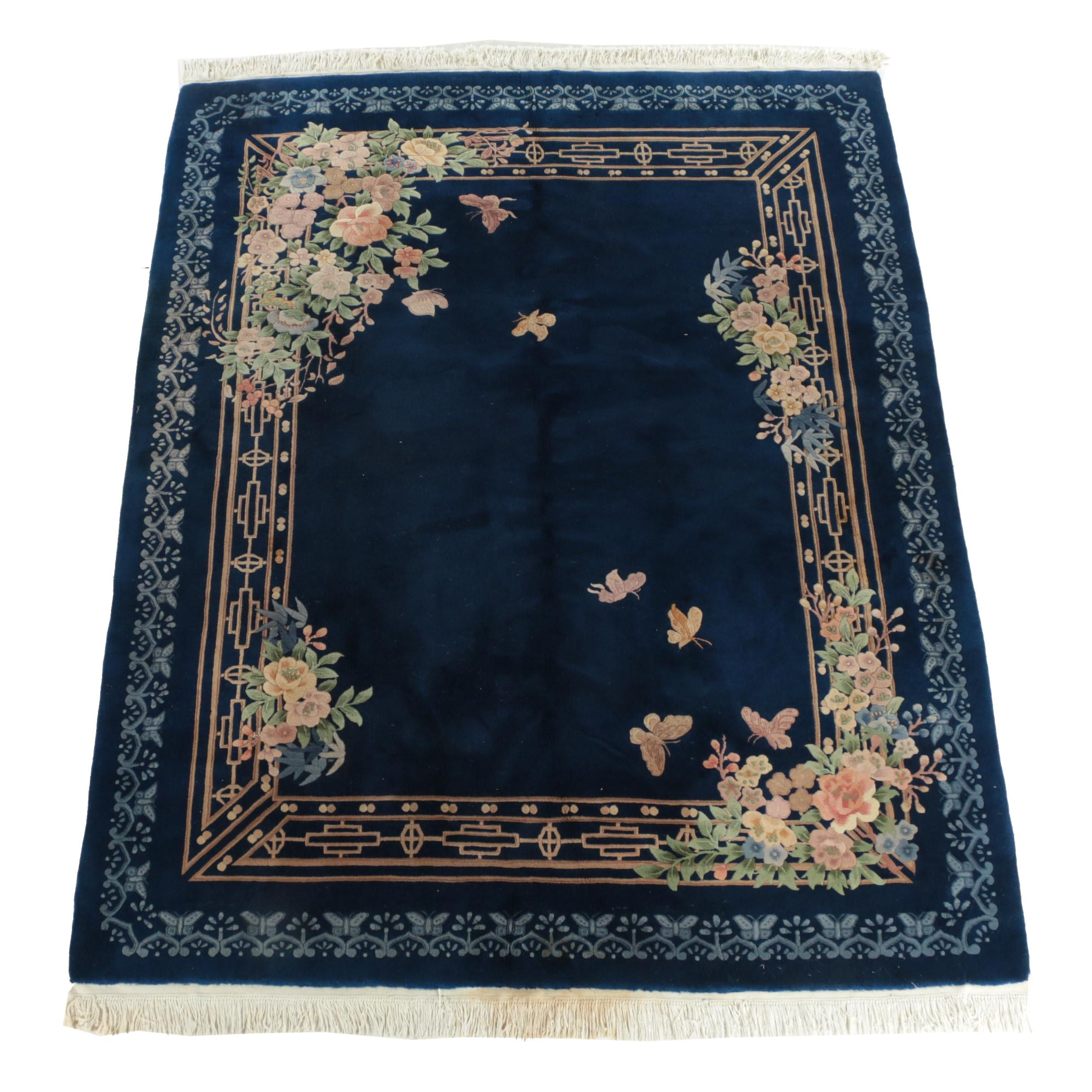 Vintage Hand-Knotteed Chinese Floral Carved Wool Area Rug