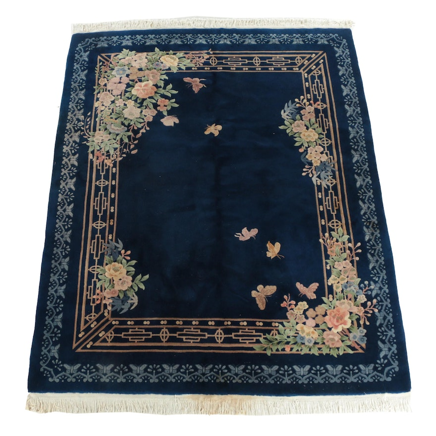 Vintage Hand Knotteed Chinese Floral Carved Wool Area Rug