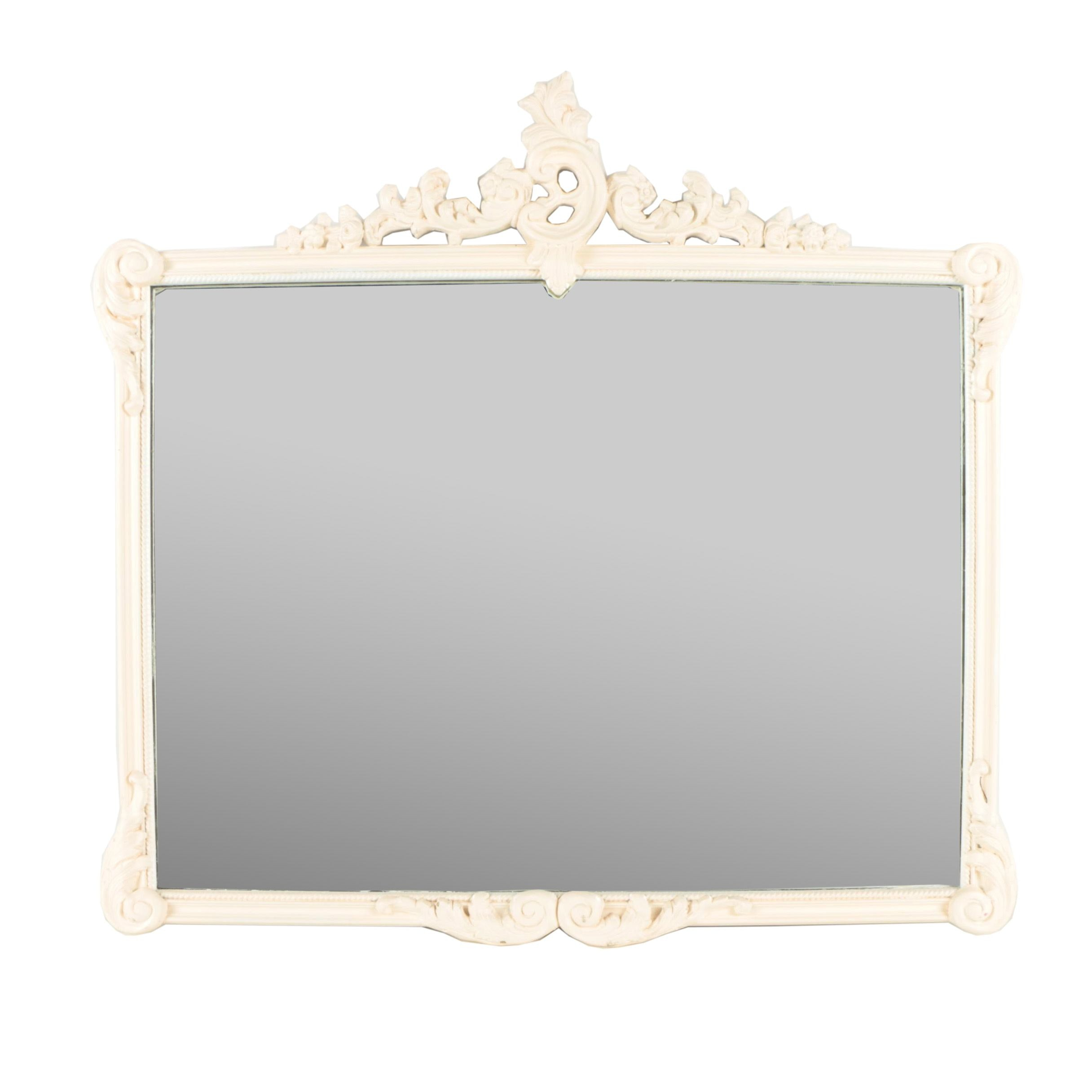 Vintage Decorative Painted and Gessoed Wood Frame Wall Mirror