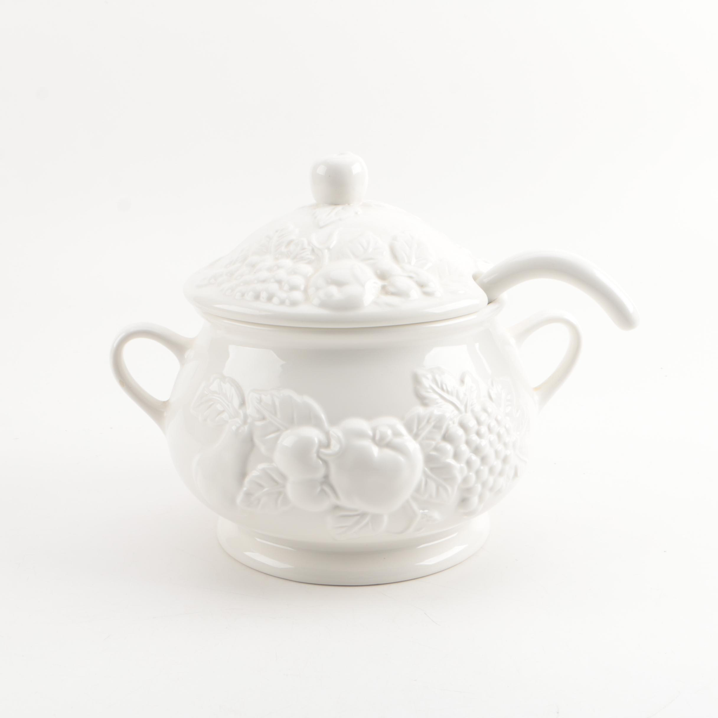 """Tabletops Unlimited """"Nature"""" Ceramic Soup Tureen"""