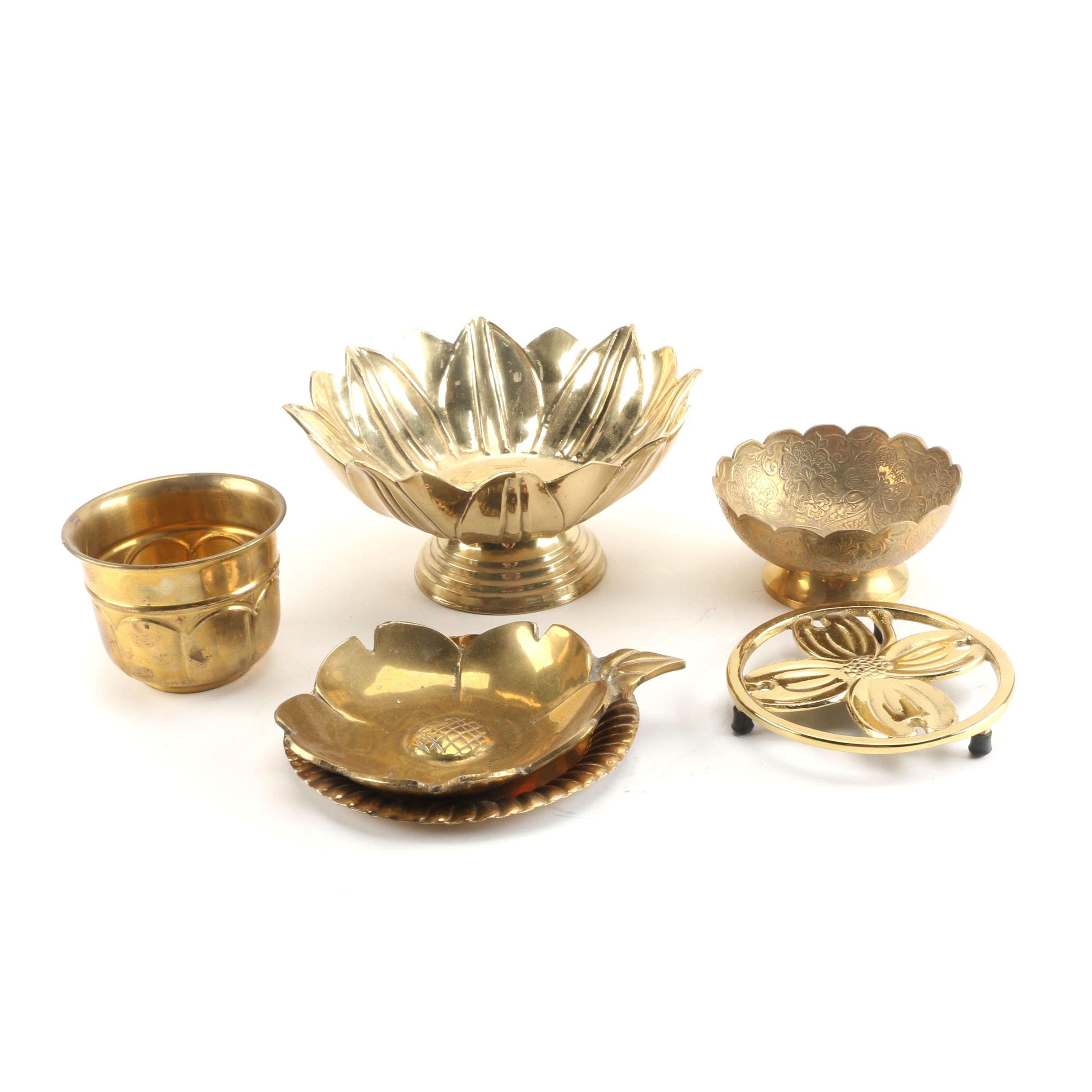 Vintage Brass Trivet and Bowls