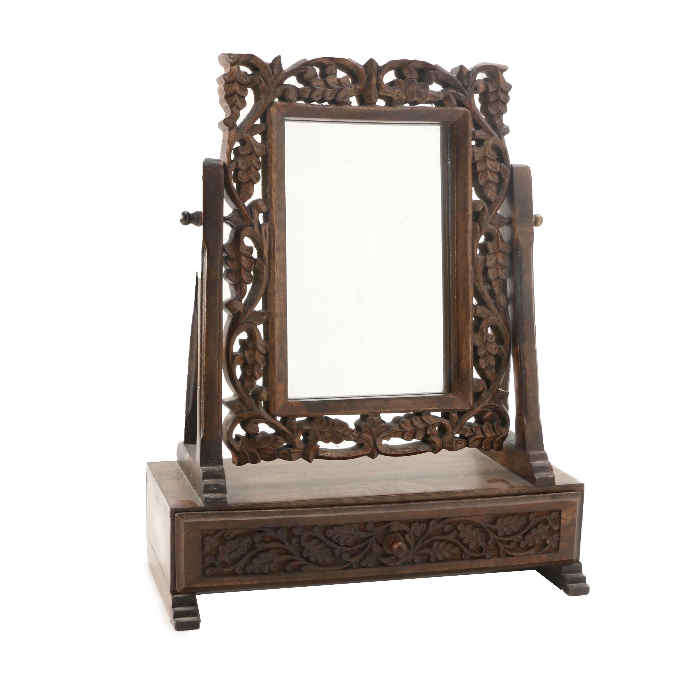Carved Wood Vanity Mirror And Drawer