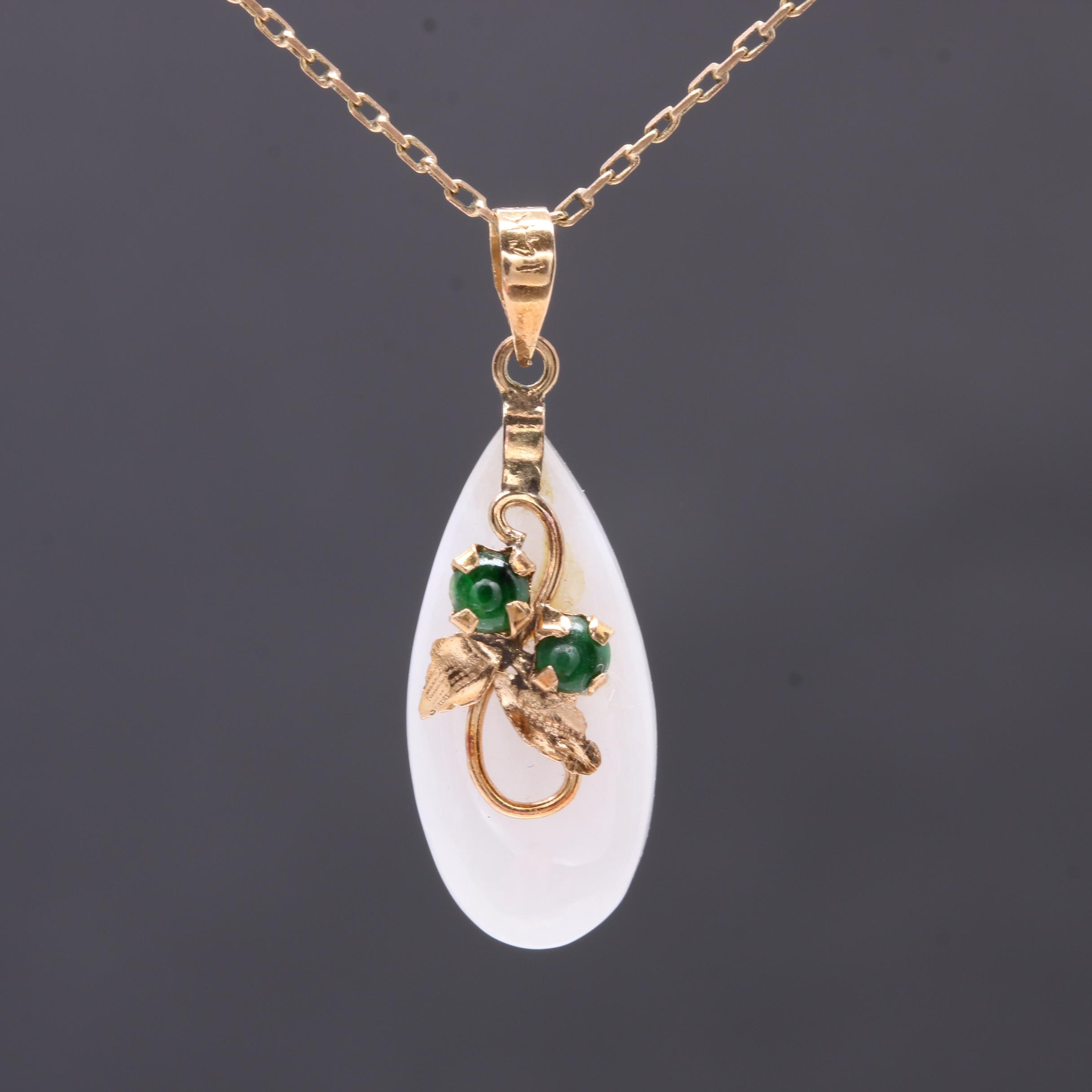 14K Yellow Gold Jadeite and Nephrite Pendant Necklace with 10K Yellow Gold Chain