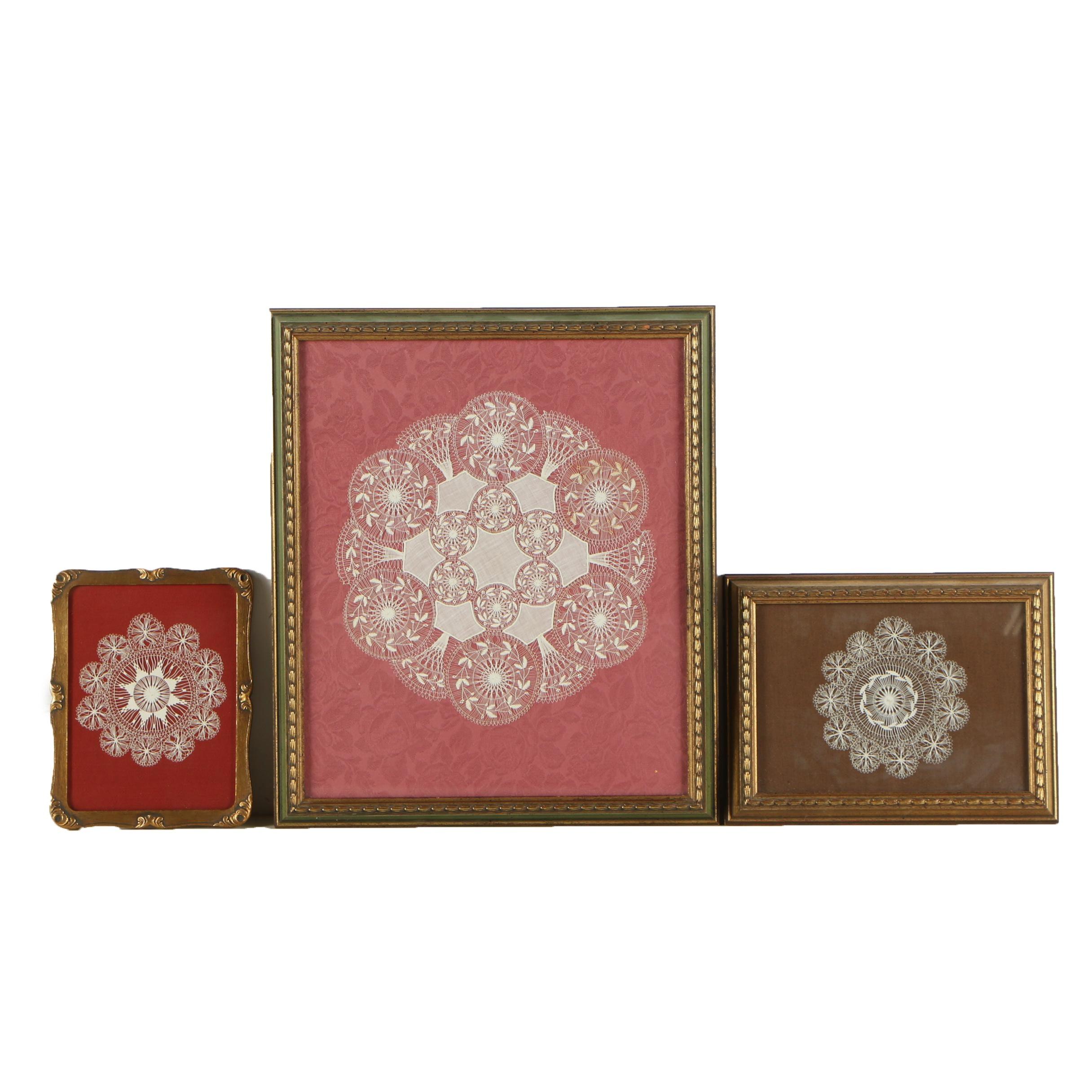 Vintage Handmade Framed Lacework