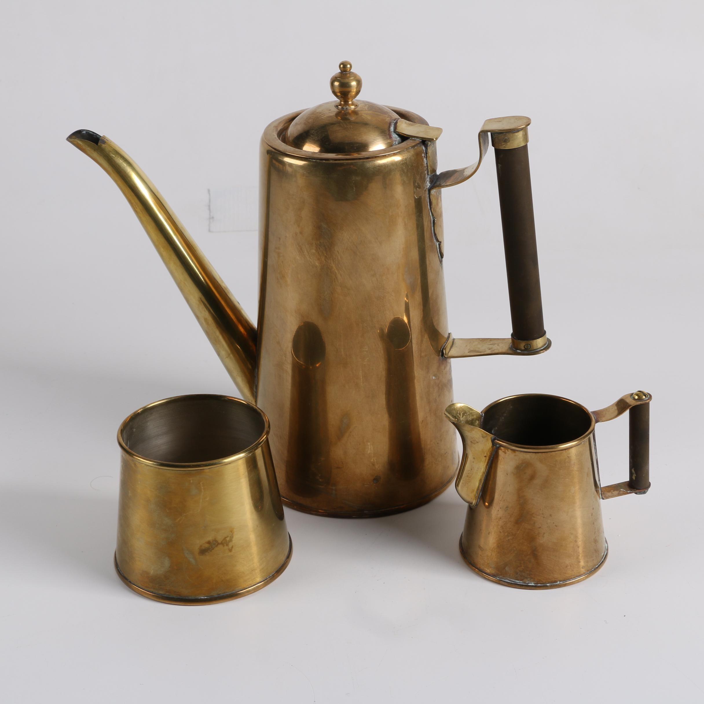 Mid Century Brass Coffee Set