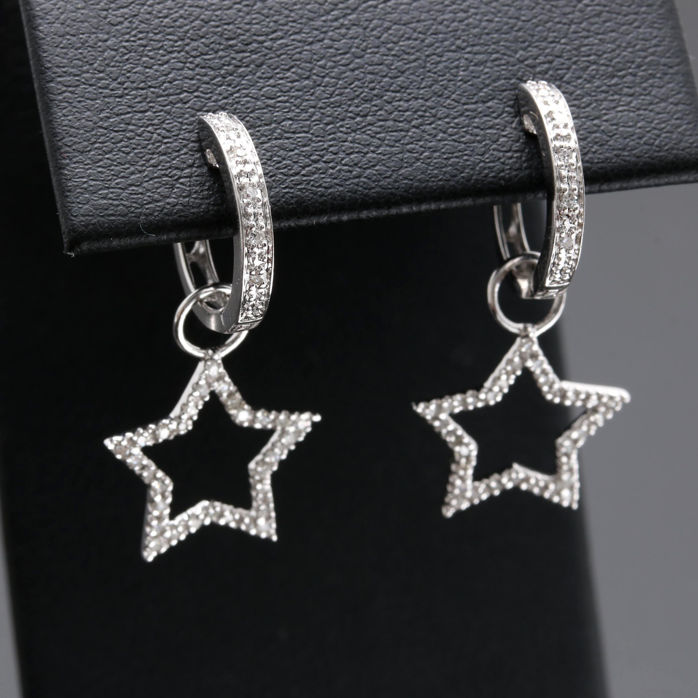 14K White Gold Diamond Star Dangle Earrings