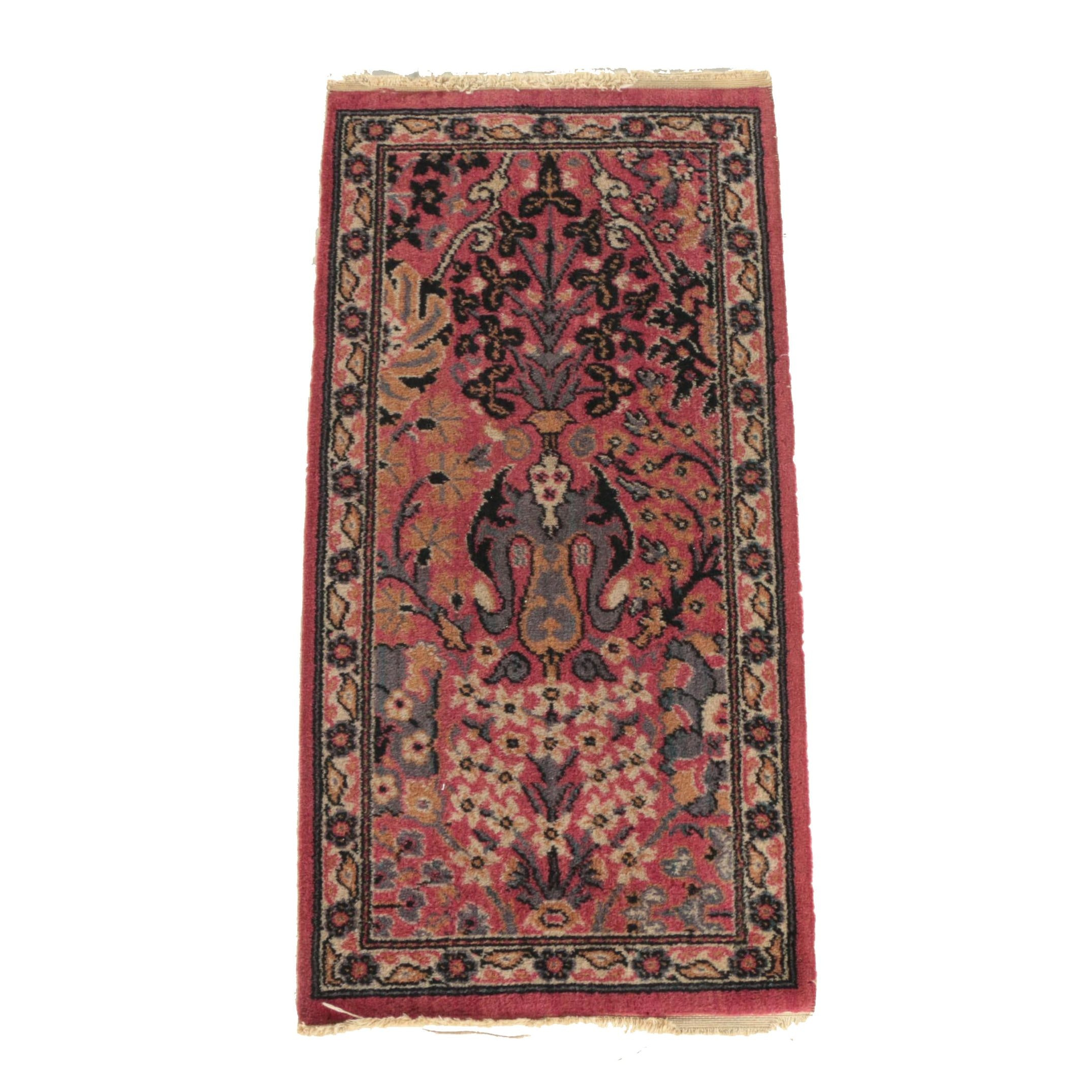 Vintage Power-Loomed Persian-Style Wool Accent Rug