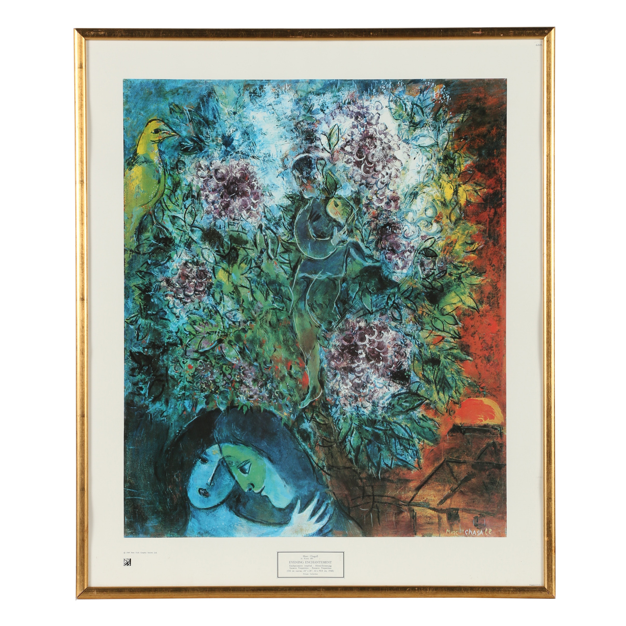 "Offset Lithograph After Marc Chagall ""Evening Enchantment"""