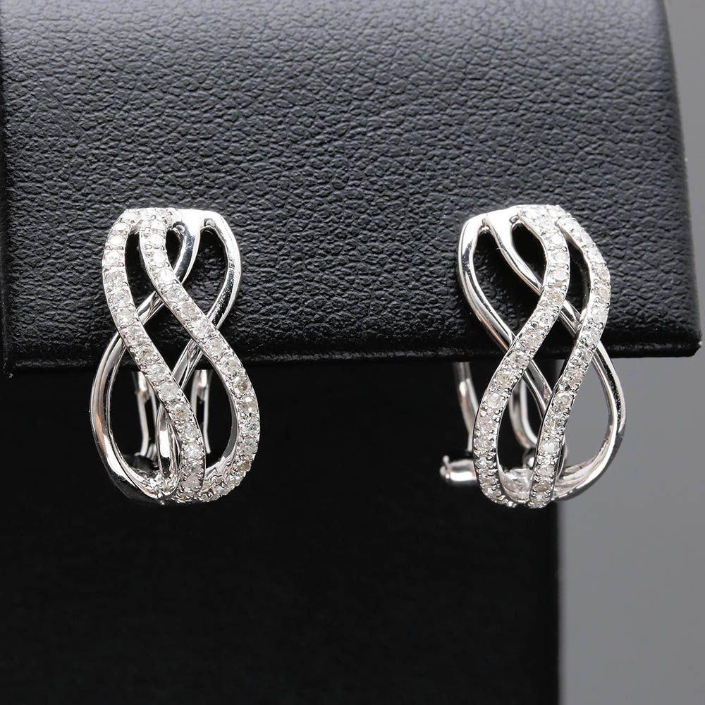 14K White Gold Diamond Scalloped Earrings