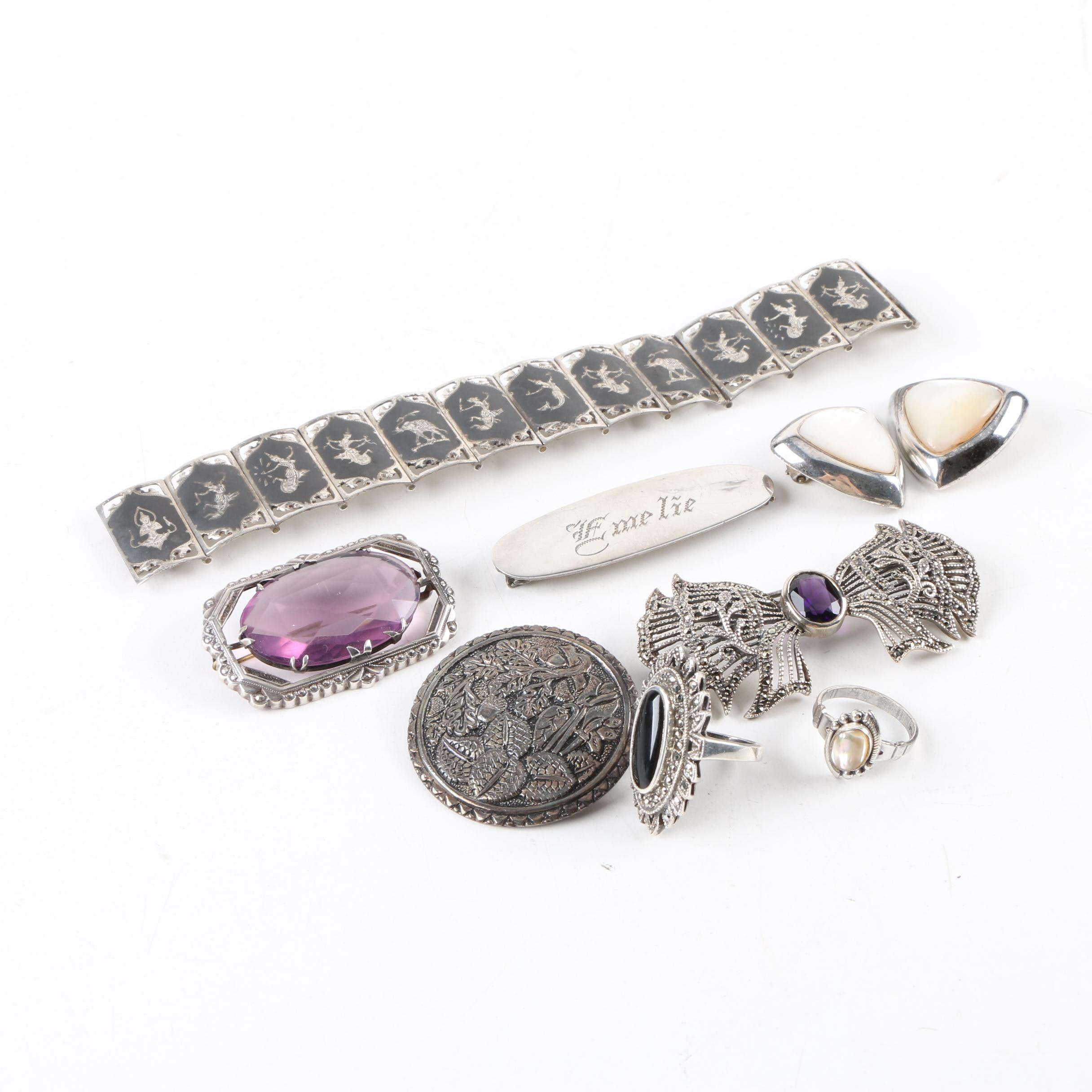 Sterling and 800 Silver Jewelry Including Mother of Pearl, Onyx, and Marcasite