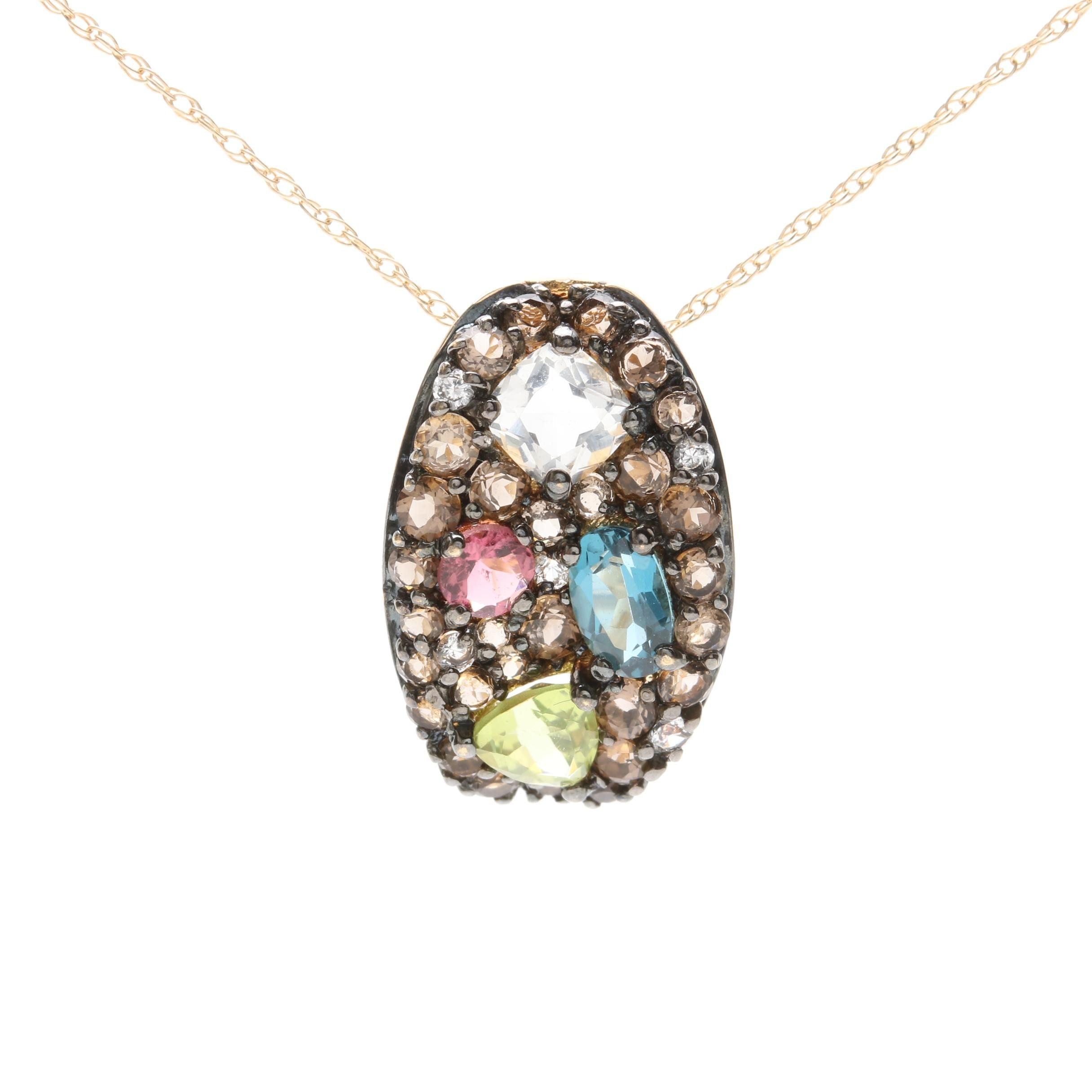 10K Yellow Gold Gemstone Pendant Necklace