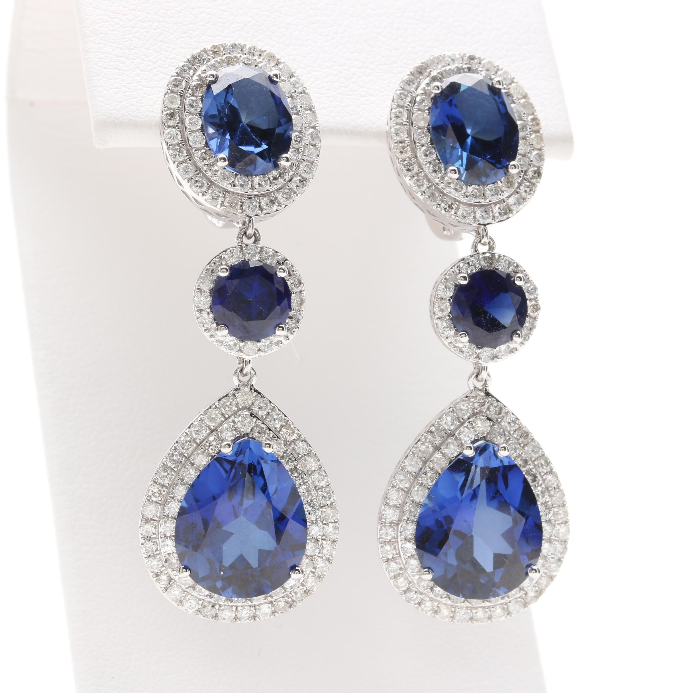 14K White Gold Synthetic Blue Sapphire and 2.01 CTW Diamond Earrings