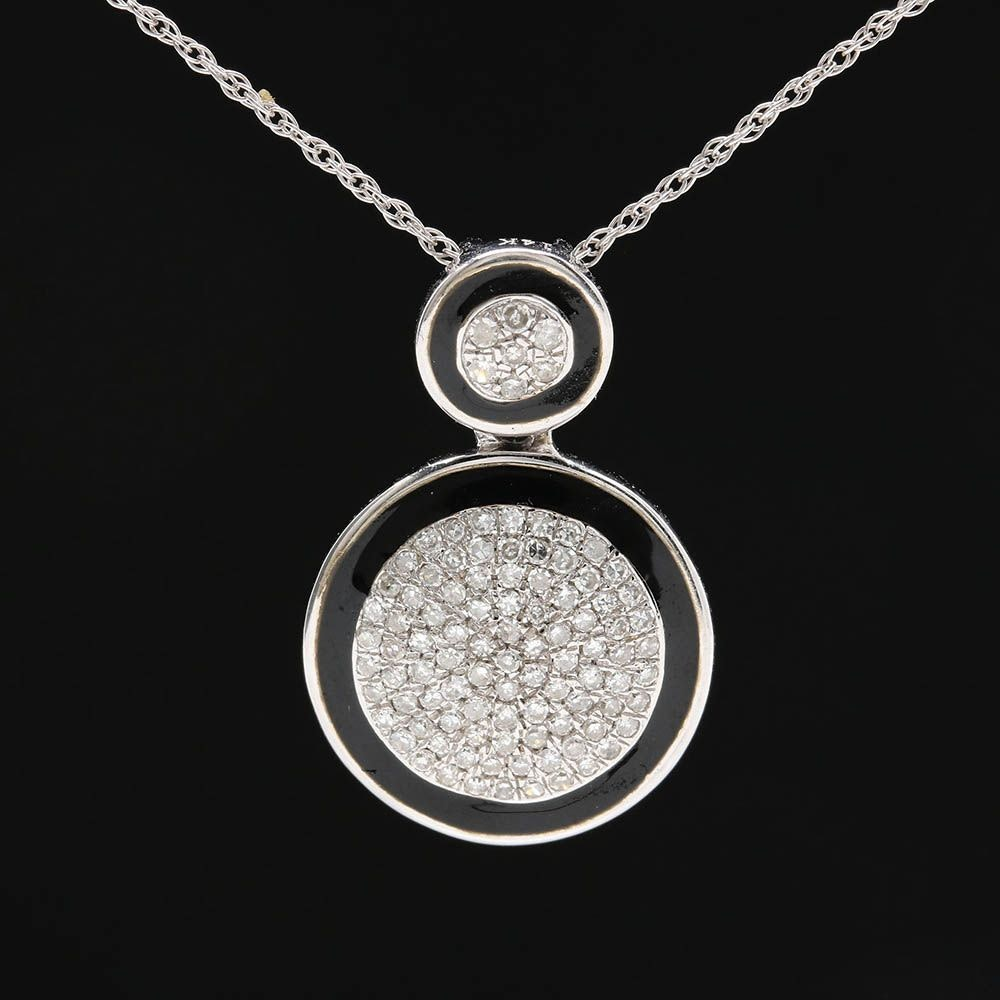 14K White Gold Diamond and Enamel Pendant Necklace