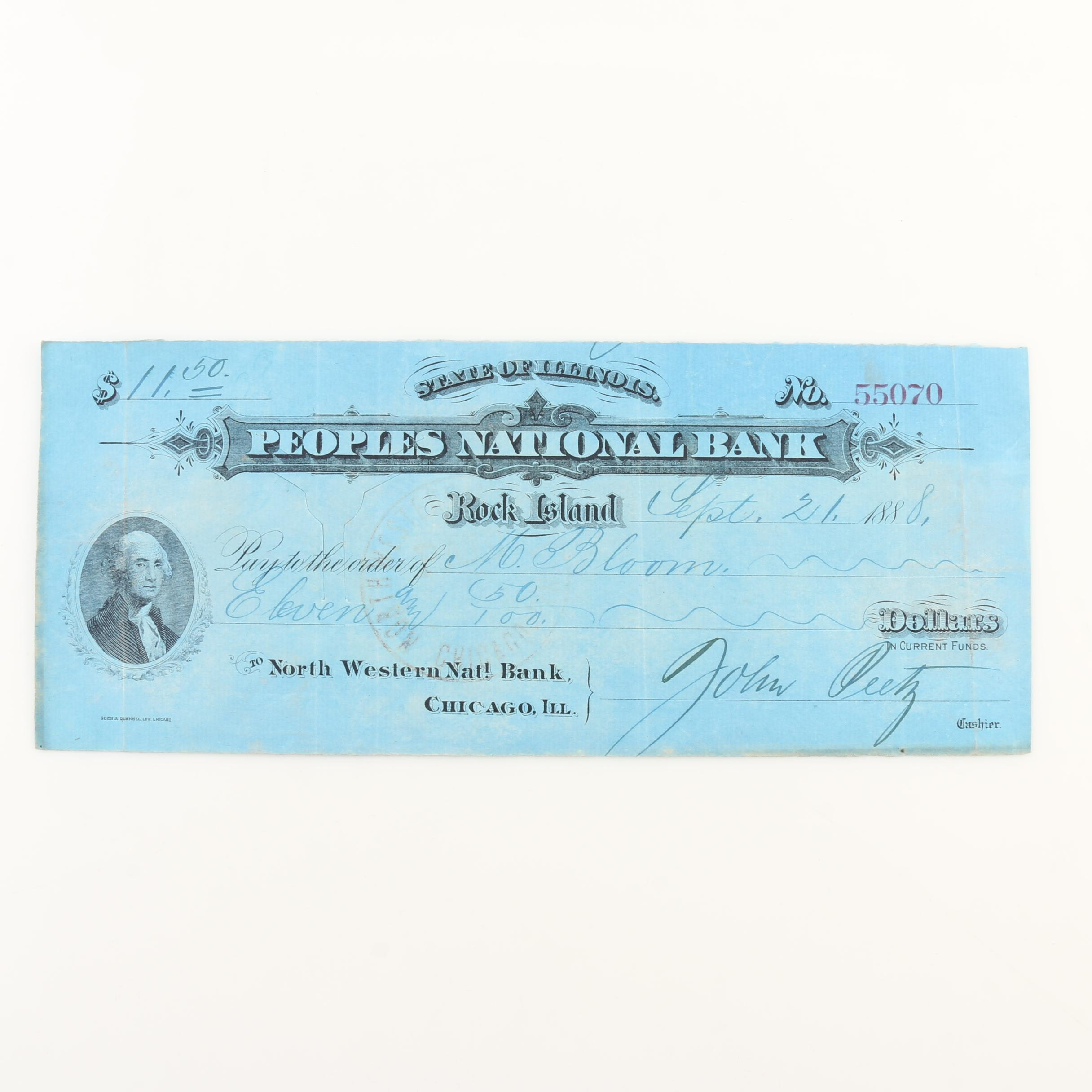 Antique Personal Check Signed by a Civil War Veteran