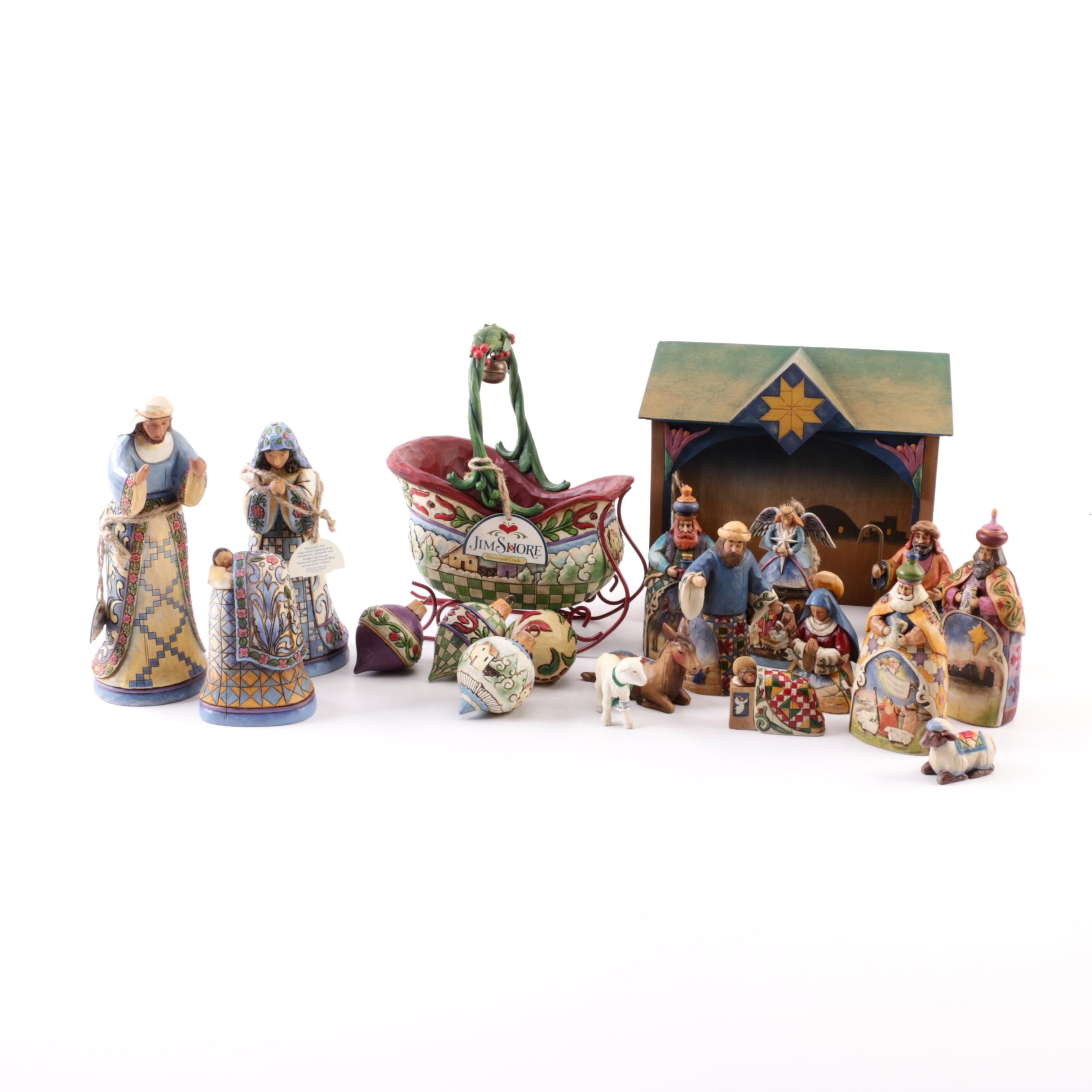 JIm Shore Holiday Figurines Featuring the Nativity Scene