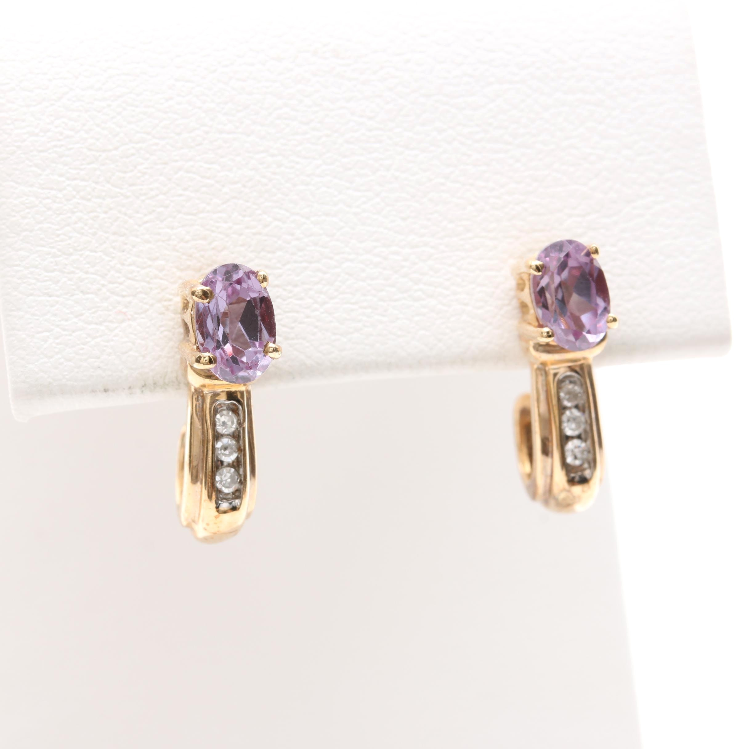 10K Yellow Gold Synthetic Color Change Sapphire and Diamond Earrings