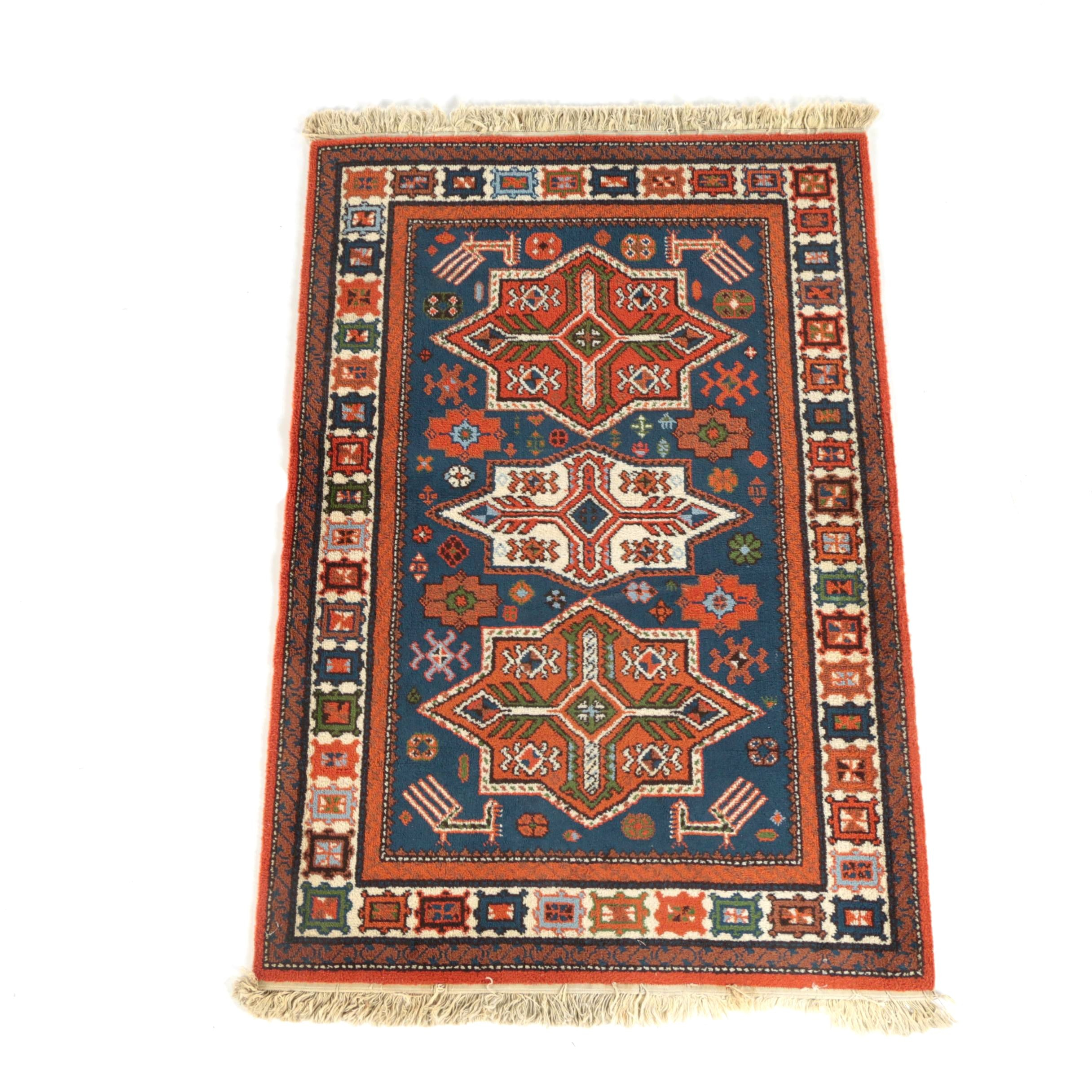 Power-Loomed Caucasian-Style Wool Area Rug
