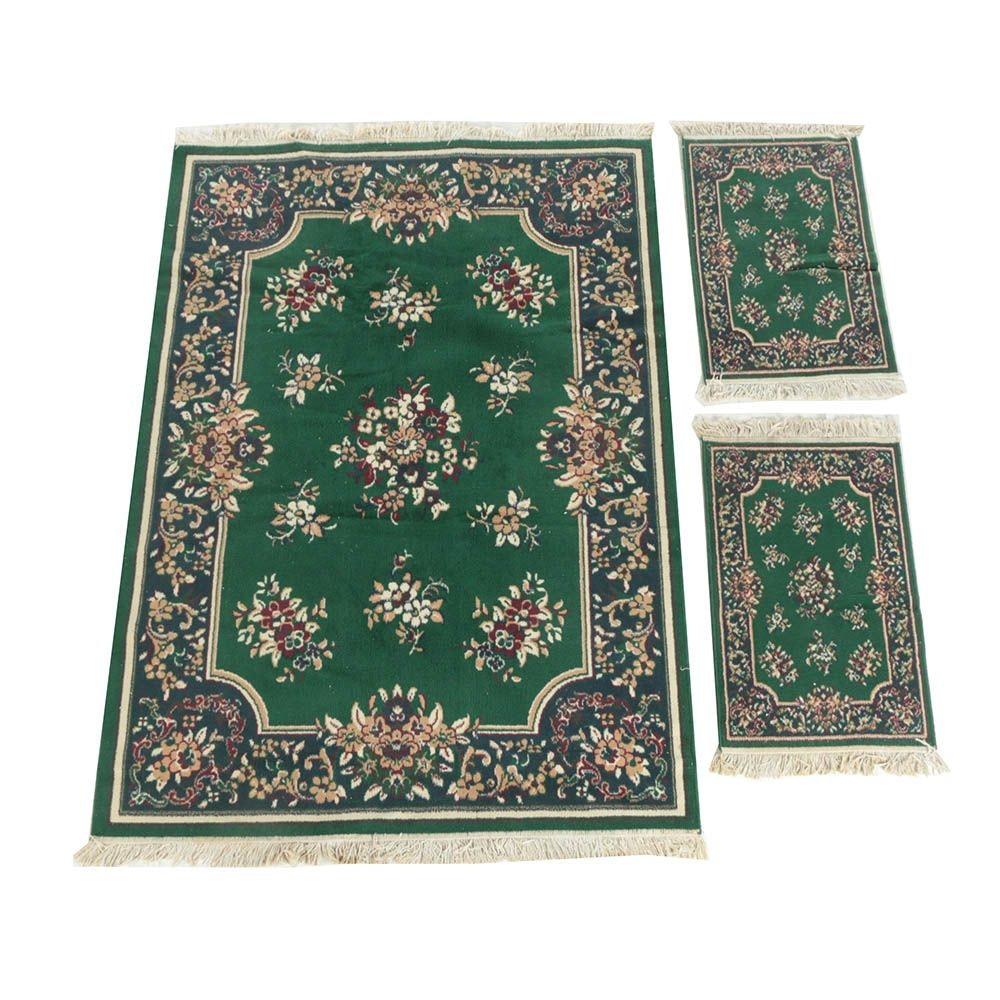 Power-Loomed Hunter Green Floral Area and Accent Rugs