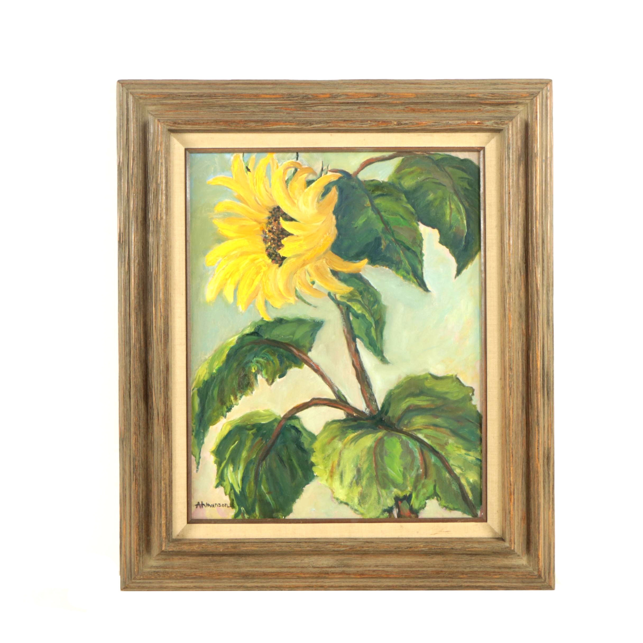 Ahmanson Oil Painting of Sunflower