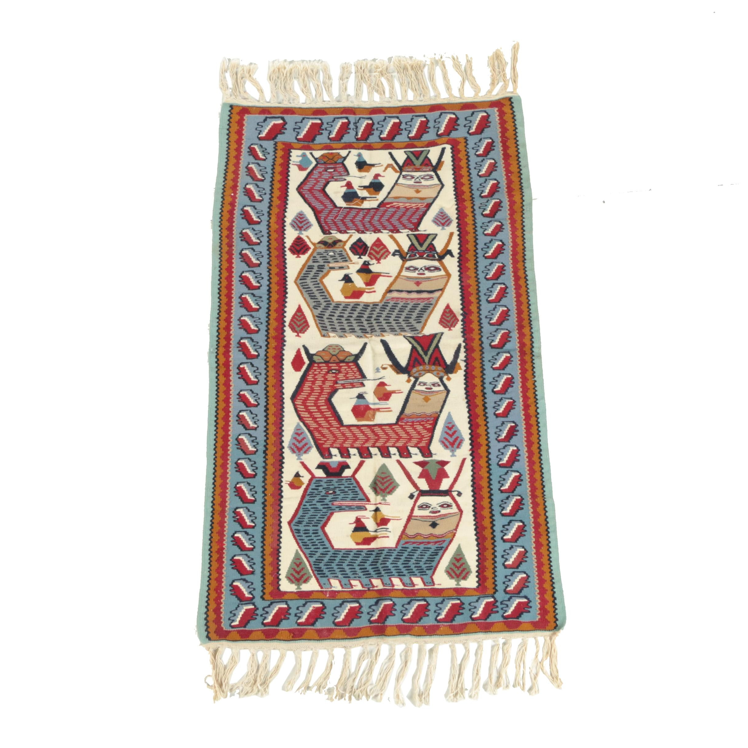 "Unusual Handwoven Turkish ""Shahmaran"" Pictorial Wool Kilim"