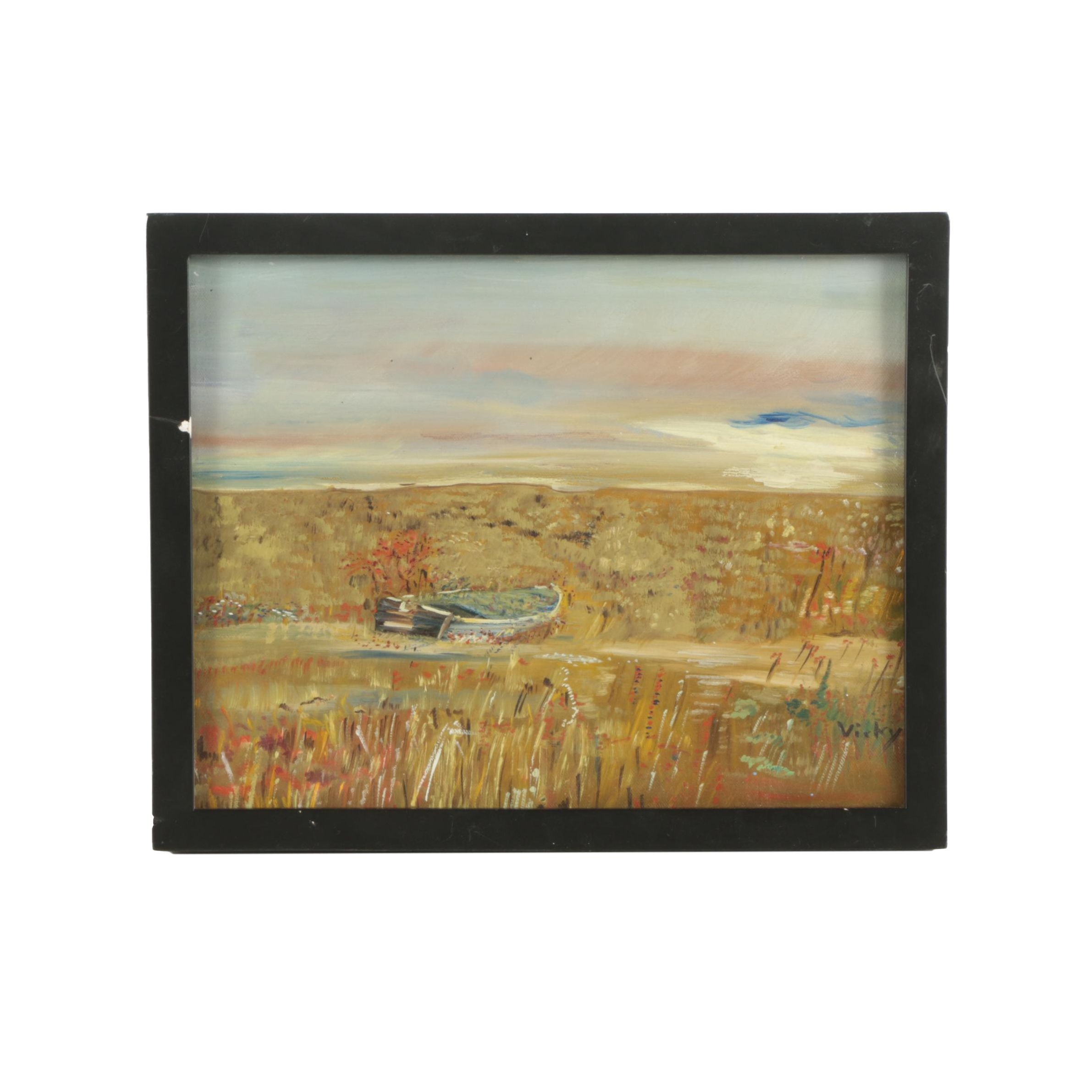 Vicky Oil Painting of Boat in a Field
