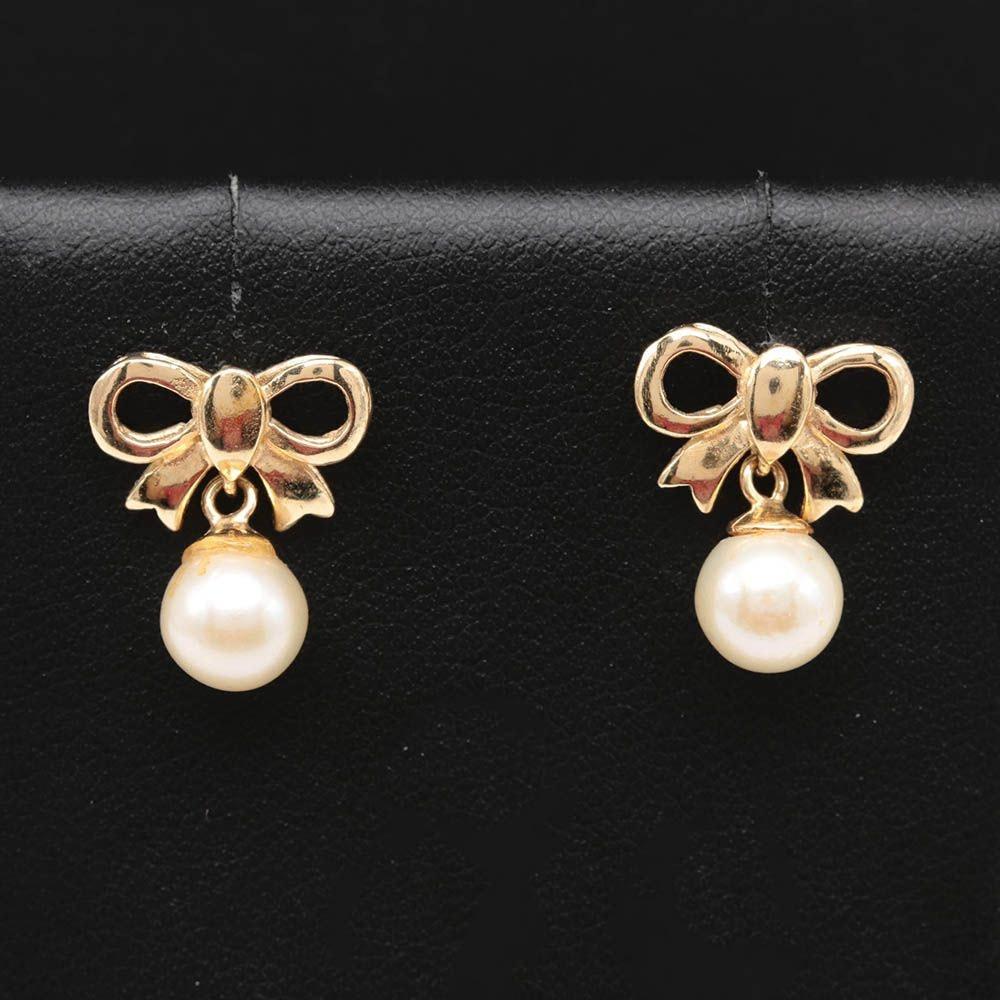 14K Yellow Gold Cultured Pearl Bow Motif Earrings