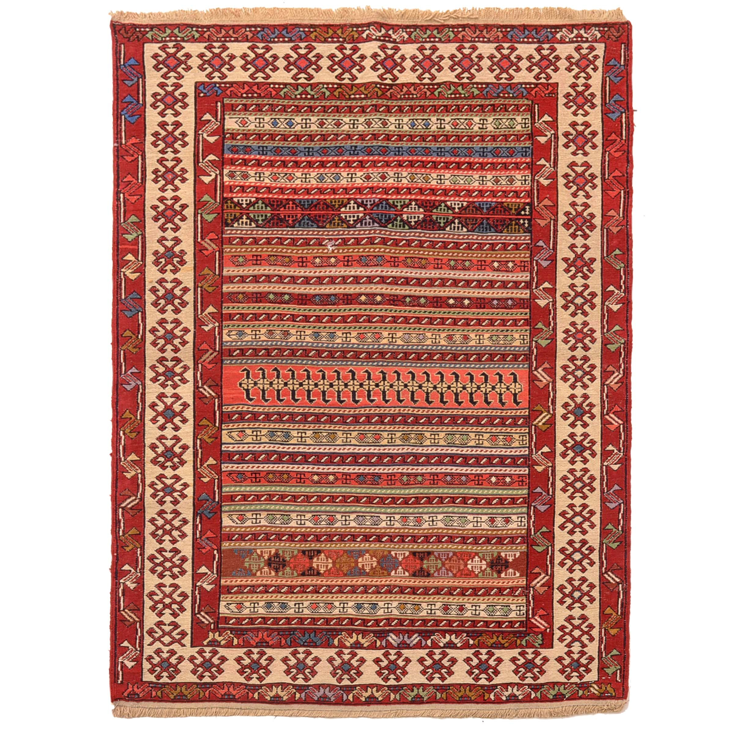 Handwoven Turkish Rahrah Soumak Area Rug