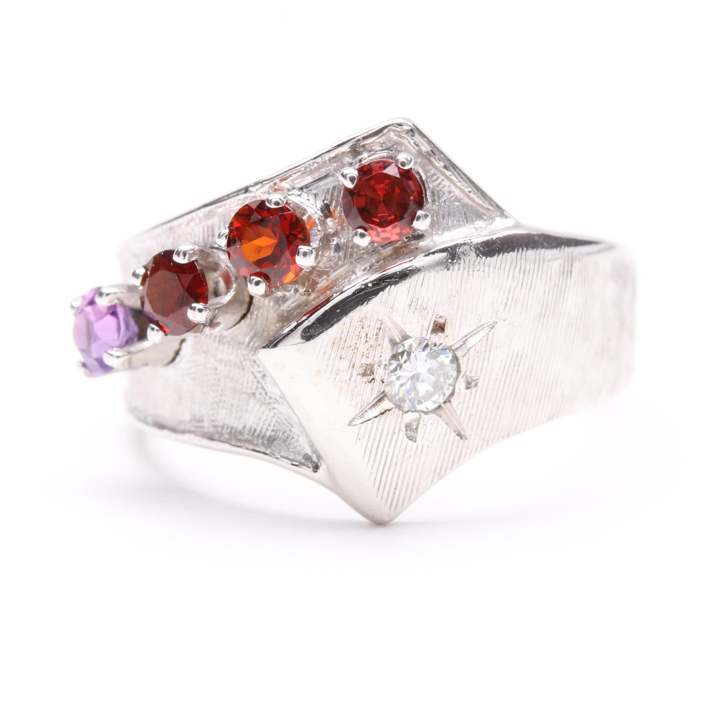 14K White Gold Diamond, Garnet and Amethyst Ring