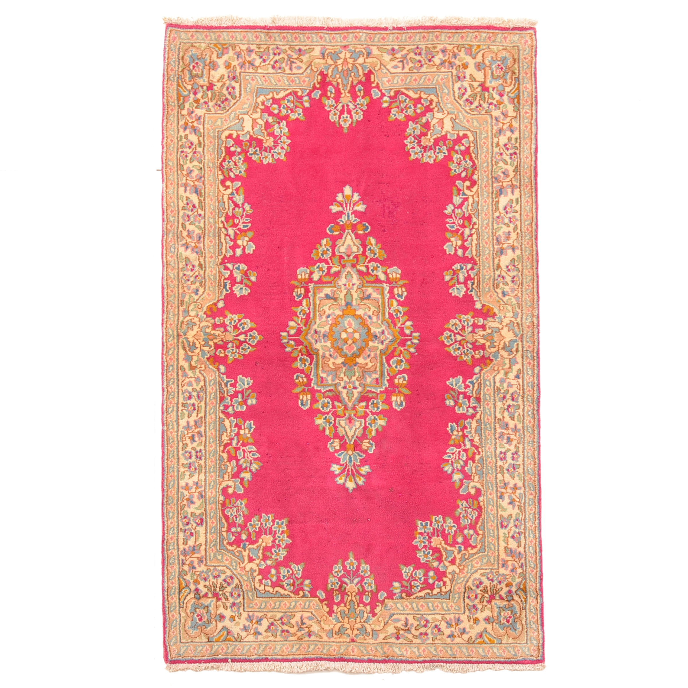 Hand-Knotted Kerman-Style Wool Area Rug