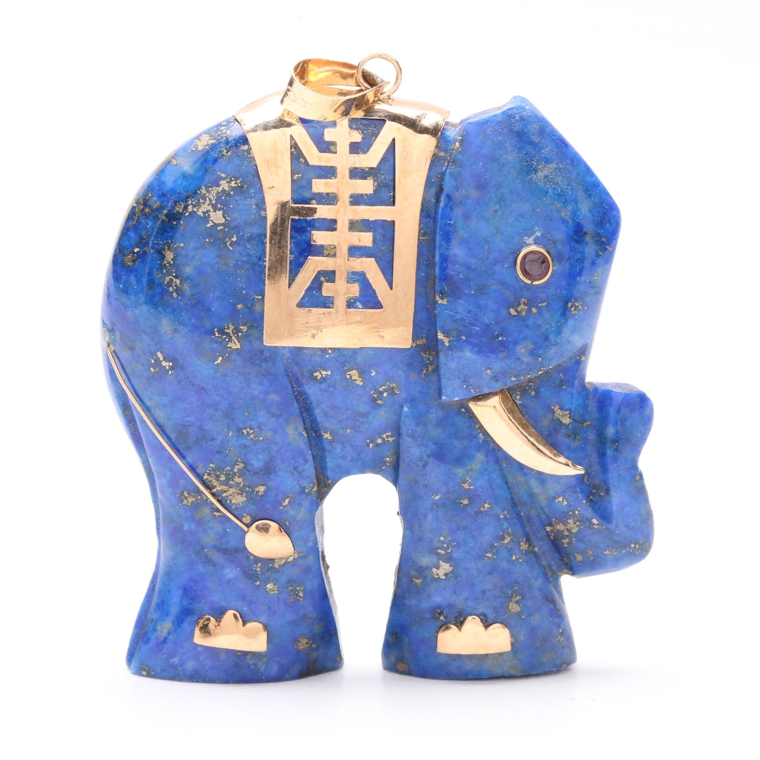 14K Yellow Gold Lapis Lazuli and Ruby Elephant Pendant