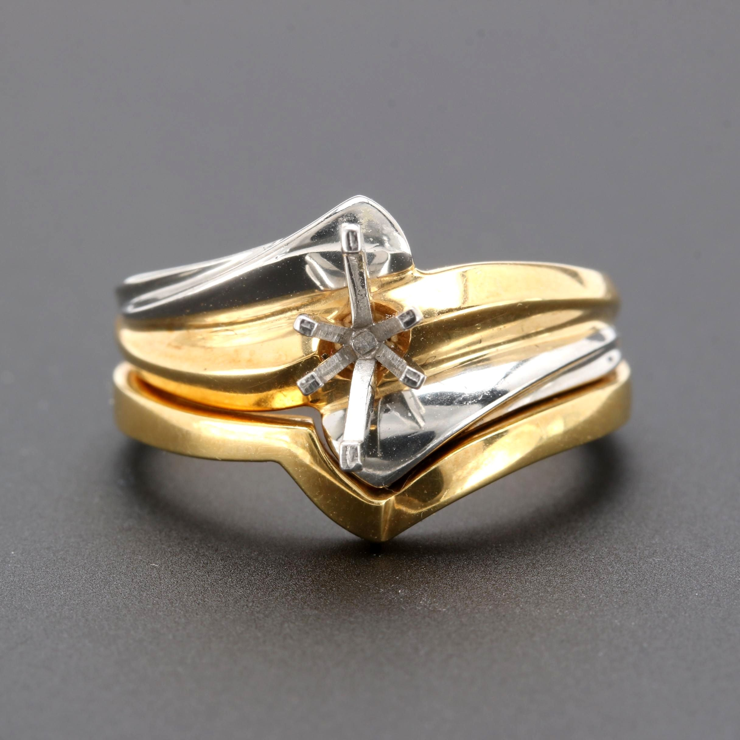 ArtCarved 18K Yellow Gold and Platinum Semi Mount Ring Set
