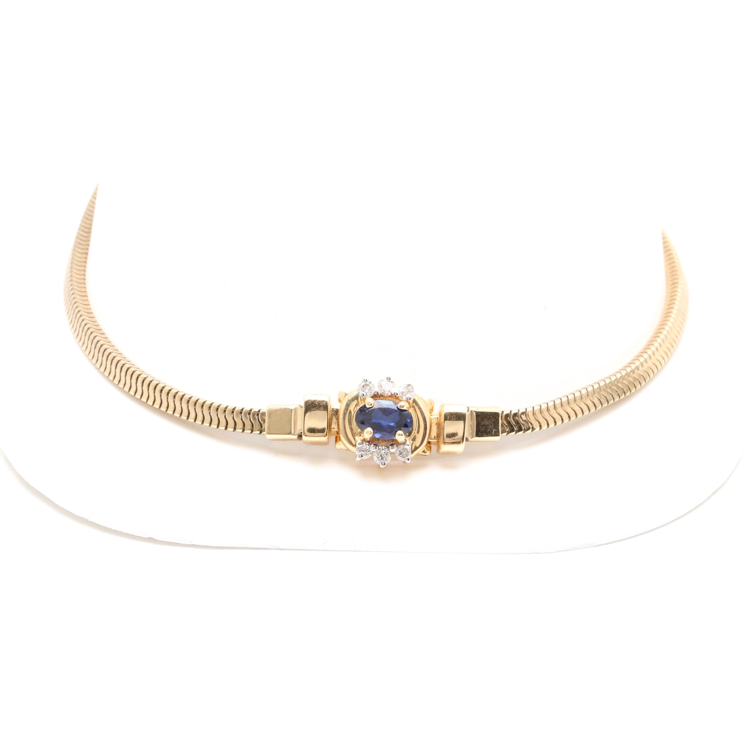 14K Yellow Gold and Gold Filled Synthetic Blue Sapphire and Diamond Bracelet