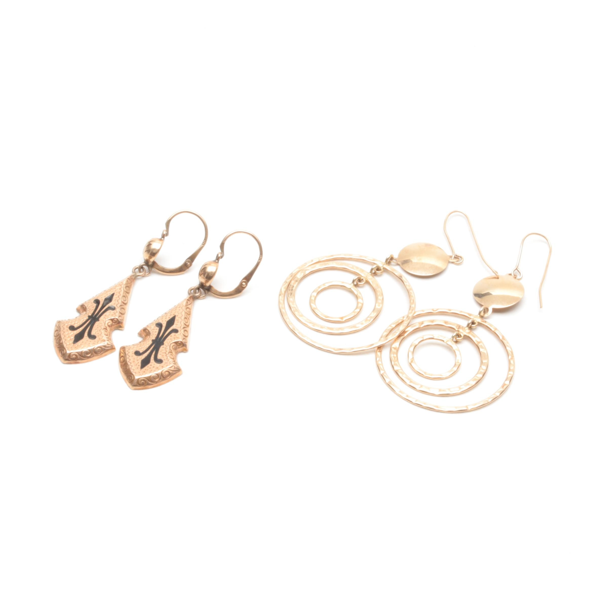 10K Yellow Gold Earring Selection Including Enamel