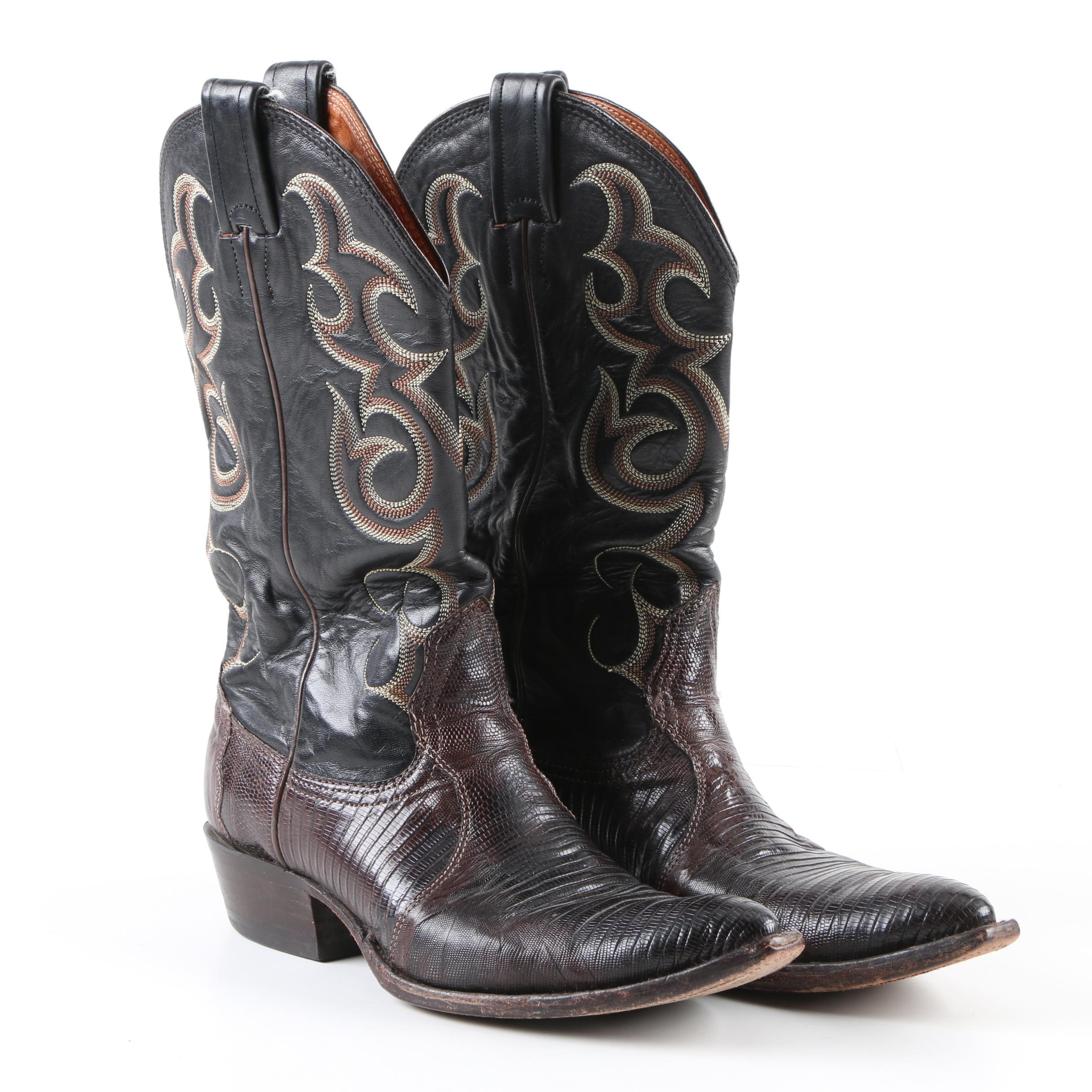 Women's Vintage Nocona Black and Brown Leather Western Boots