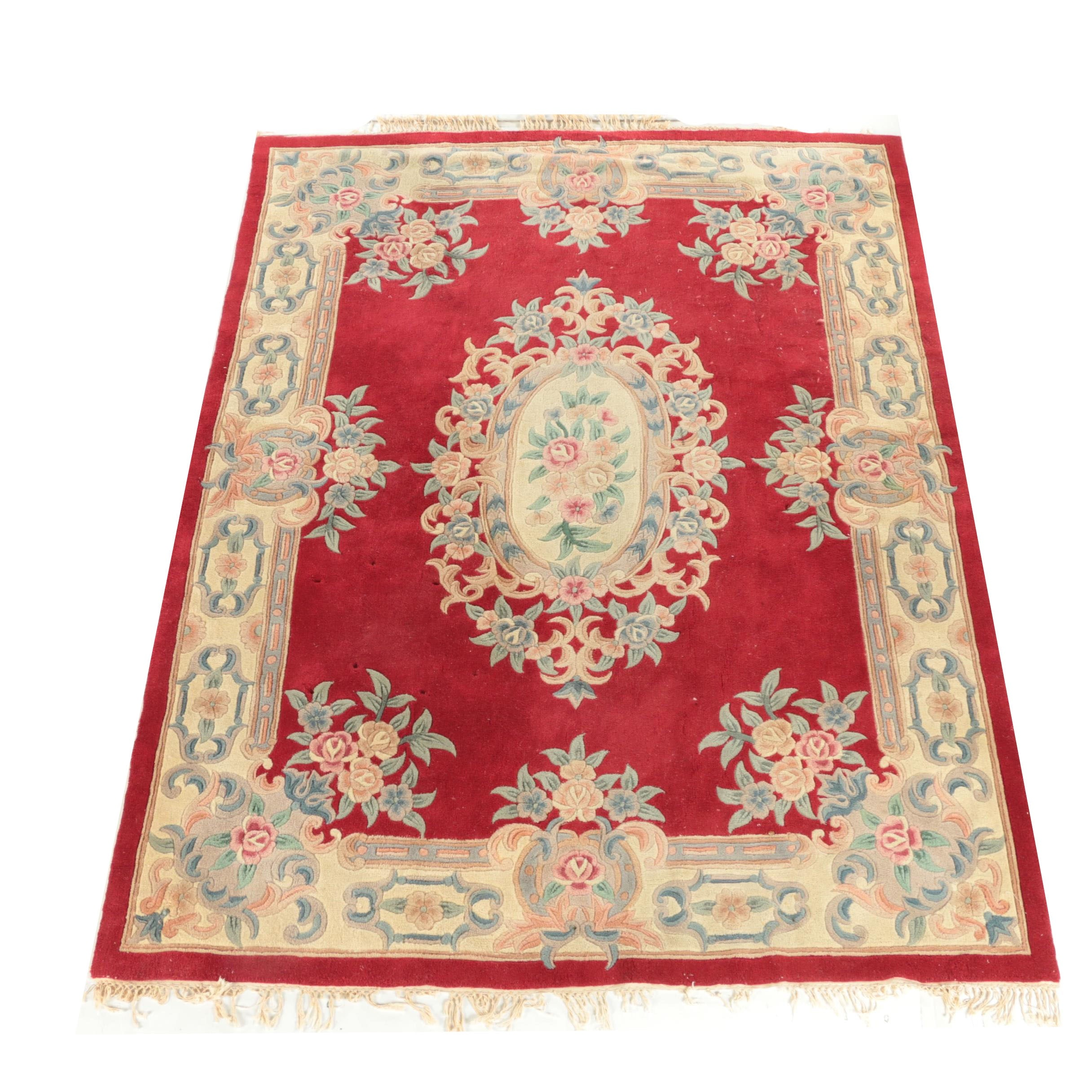 Hand-Tufted Chinese Floral Carved Wool Area Rug
