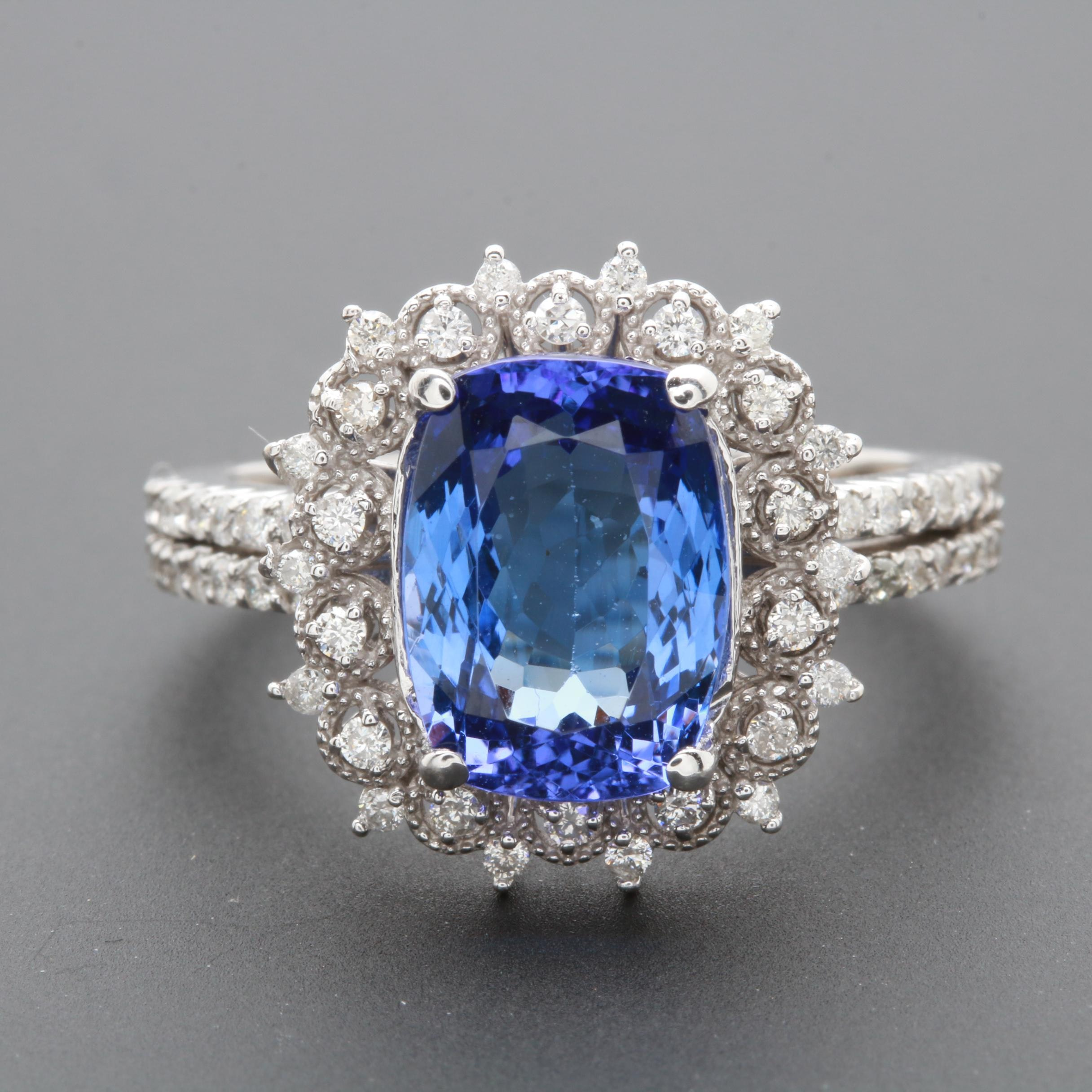 14K White Gold 3.29 CT Tanzanite and Diamond Ring