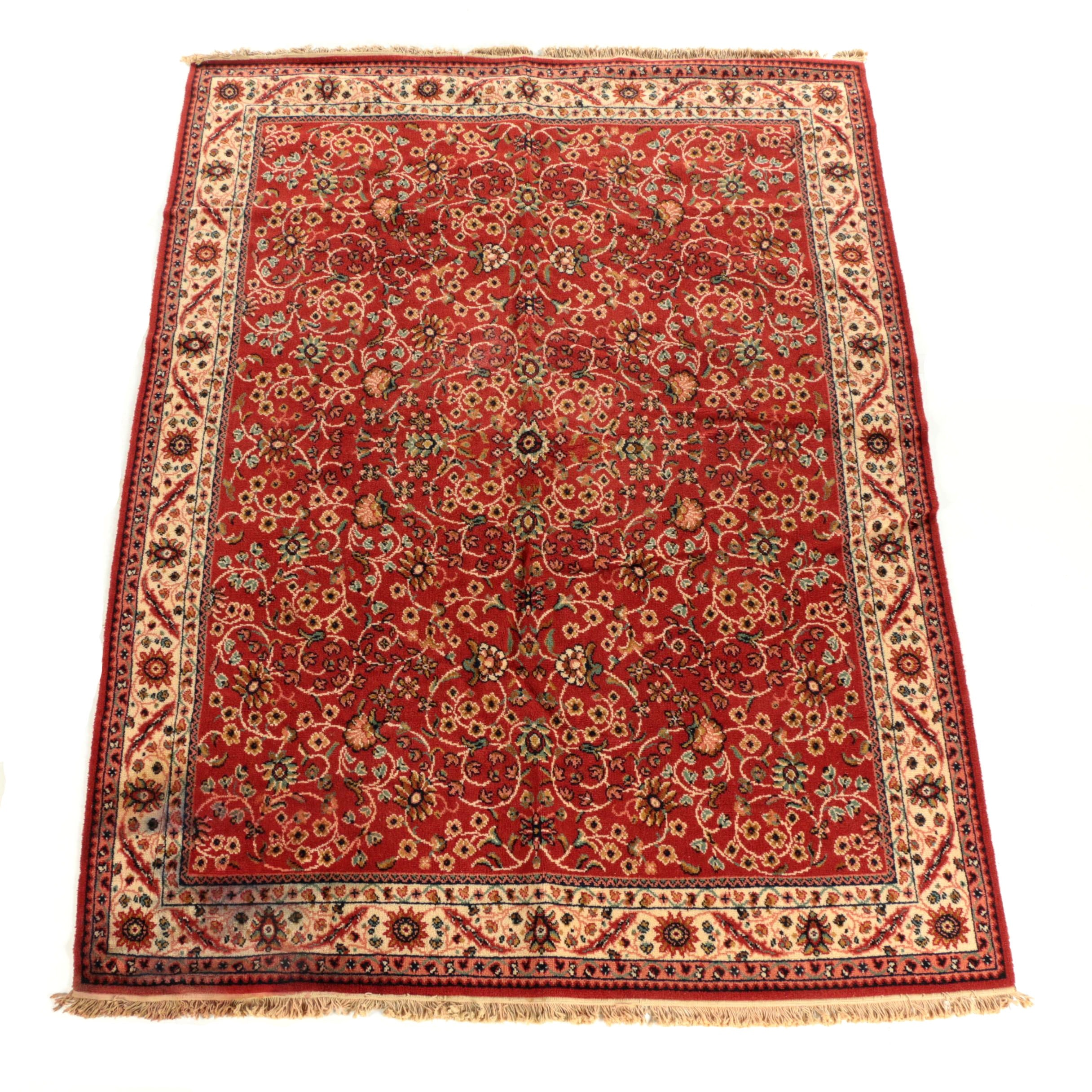Power-Loomed British Persian-Style Wool Area Rug