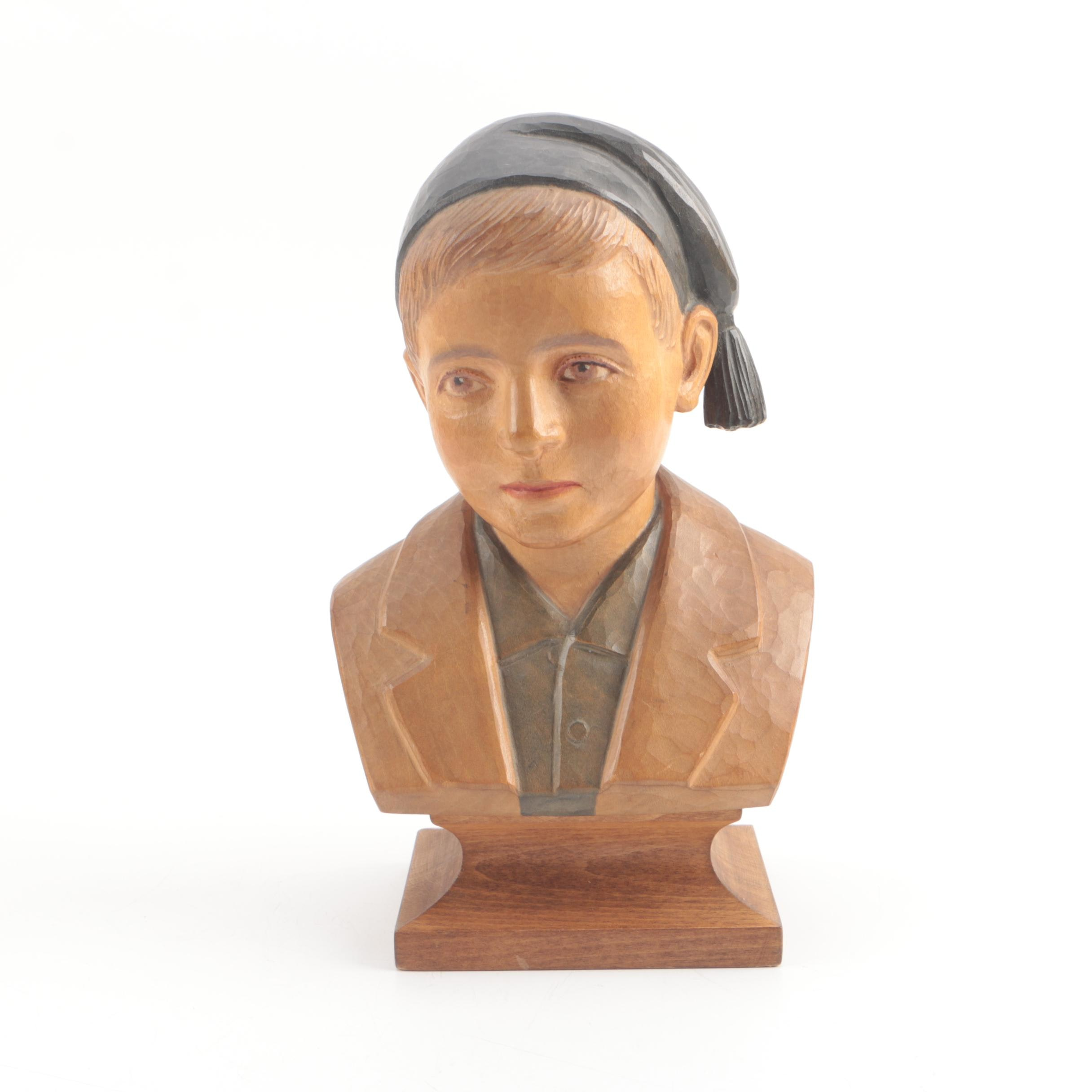 Vintage EB Handcarved Swiss Wood Bust