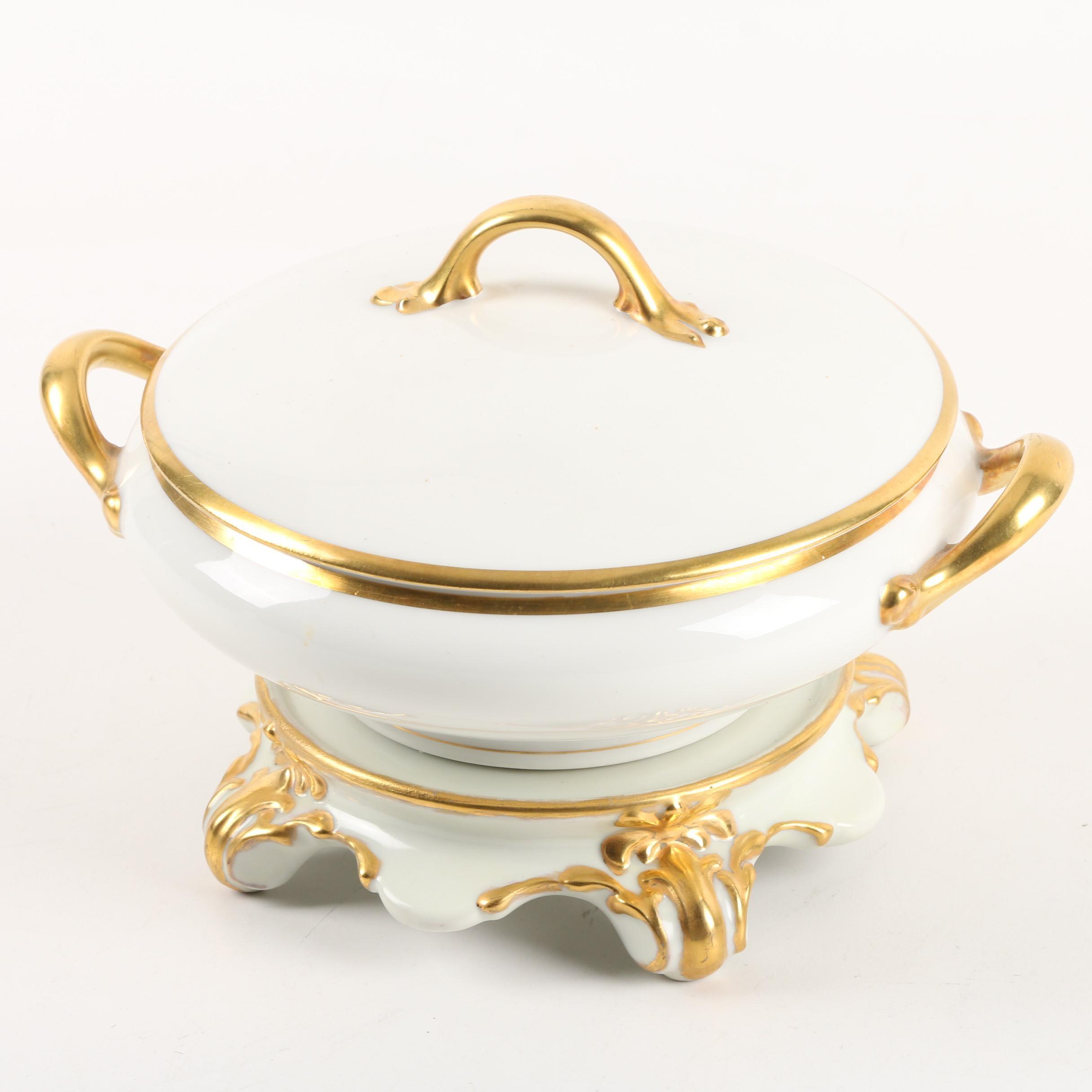 Vintage Vignaud Limoges Porcelain Vegetable Bowl with Stand