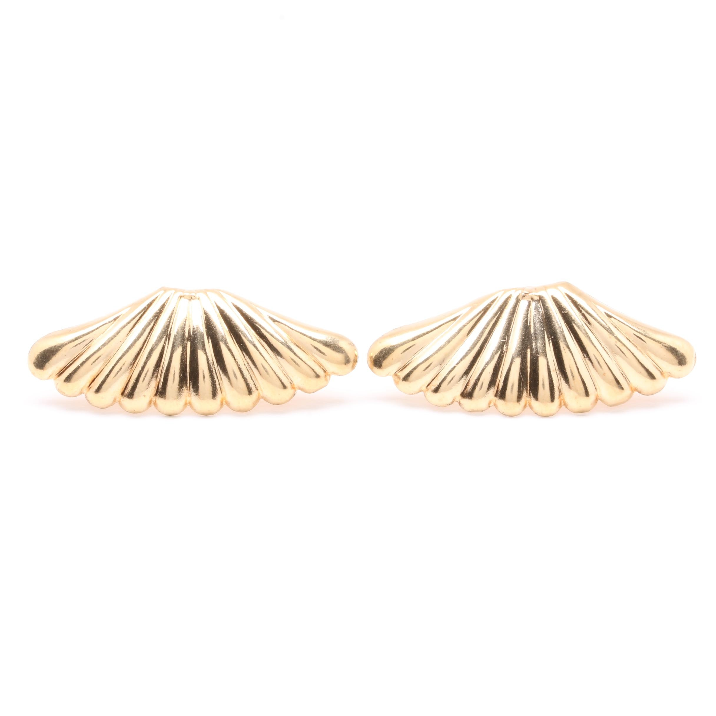 14K Yellow Gold Scalloped Post Earrings