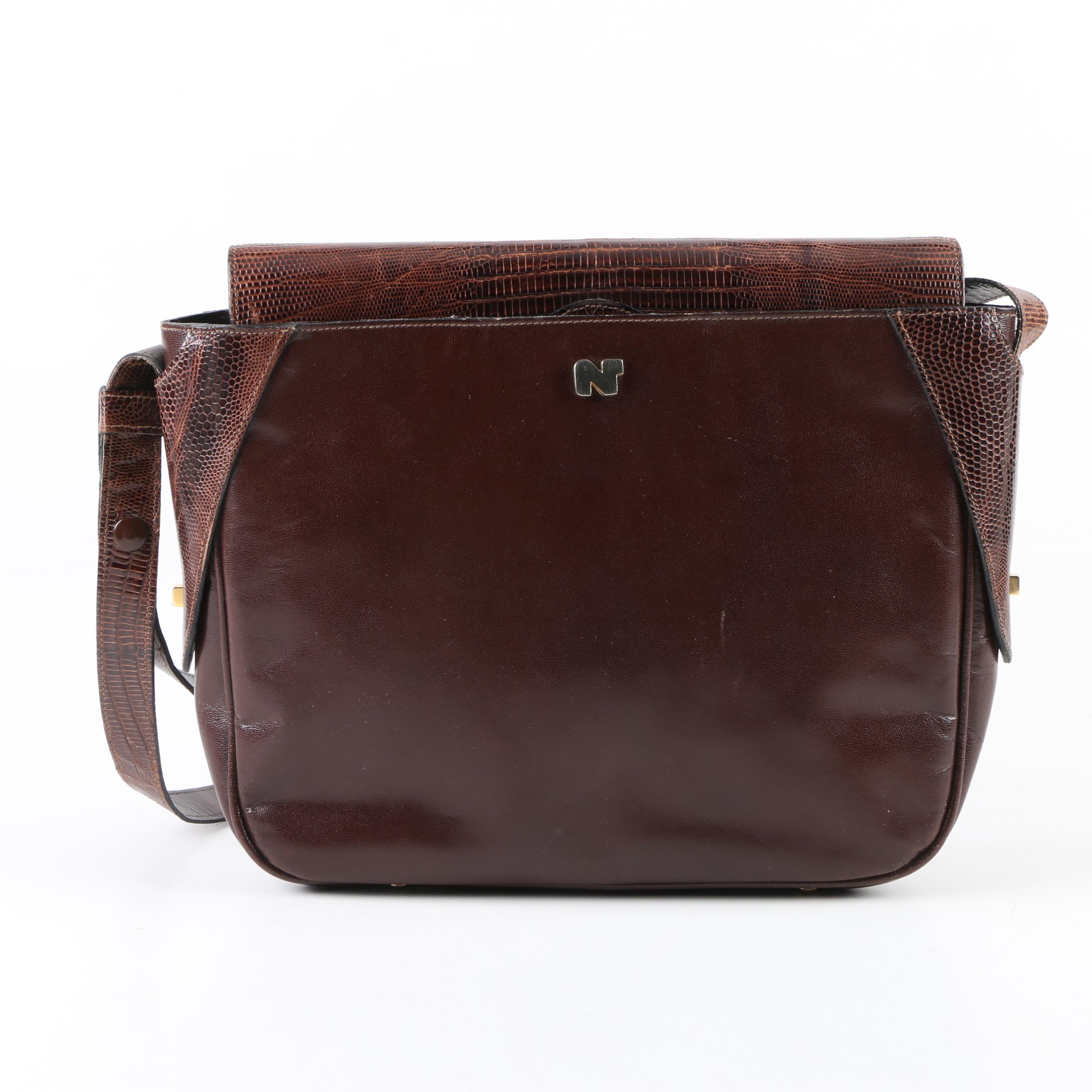 Vintage Nina Ricci Paris Mahogany Leather Shoulder Bag with Embossed Lizard Skin