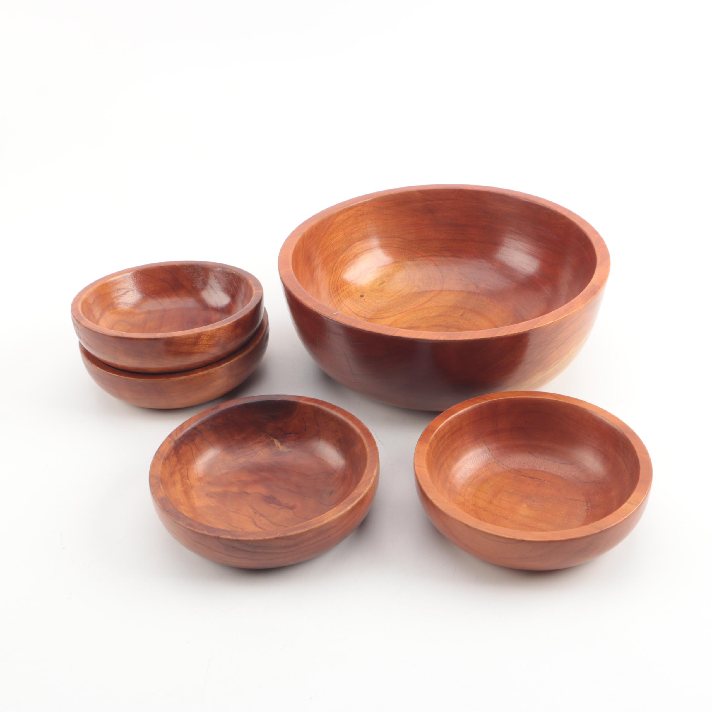 Hand Crafted R.L. Smith Wood Salad Bowl Set