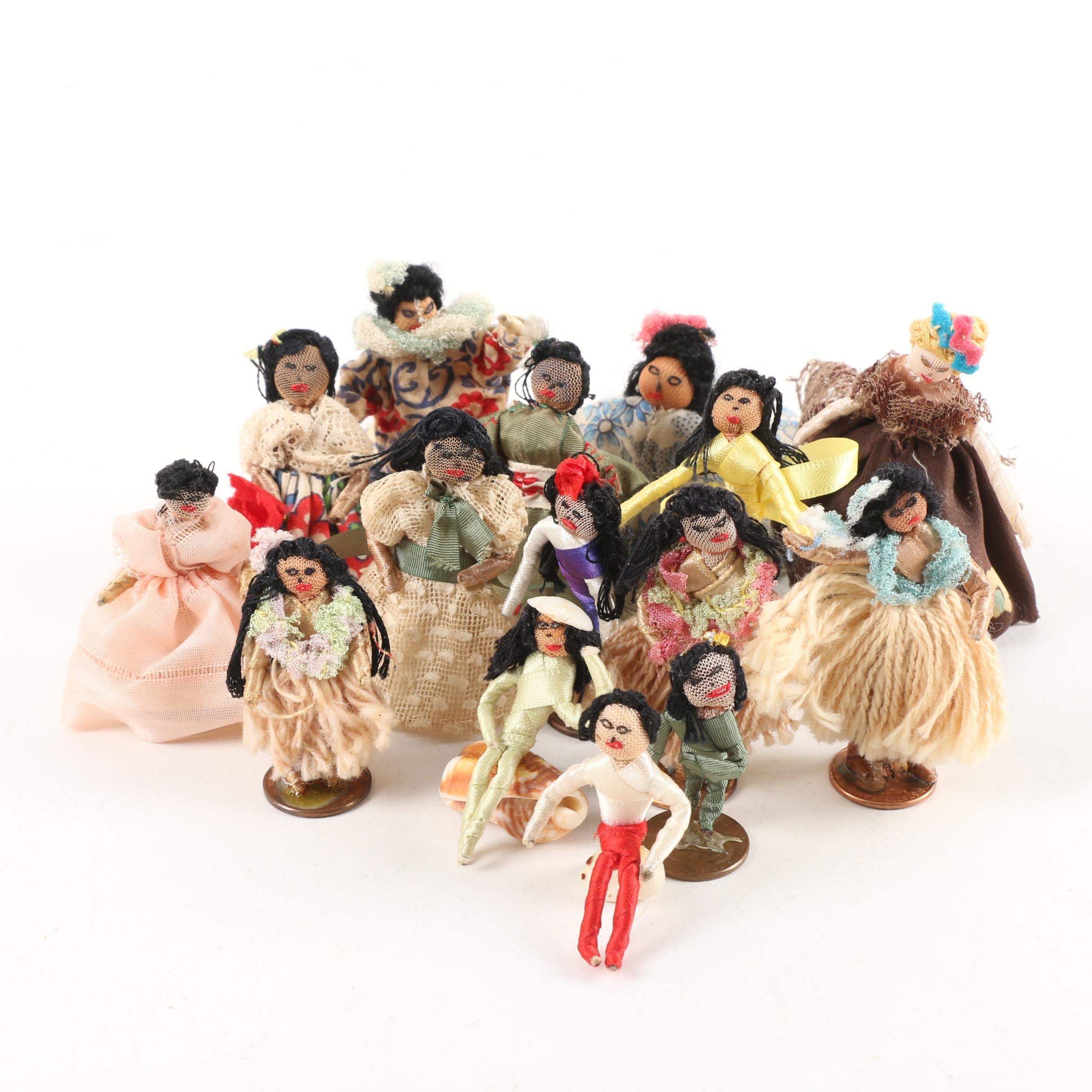 Hand Crafted Miniature Thread Wrapped Wire Dolls