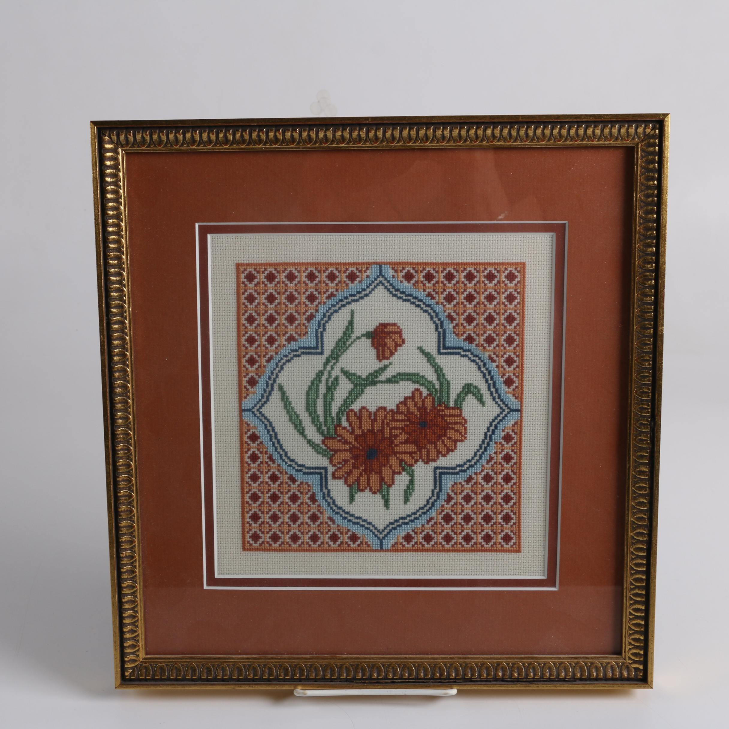 Framed Cross-Stitch of Flowers